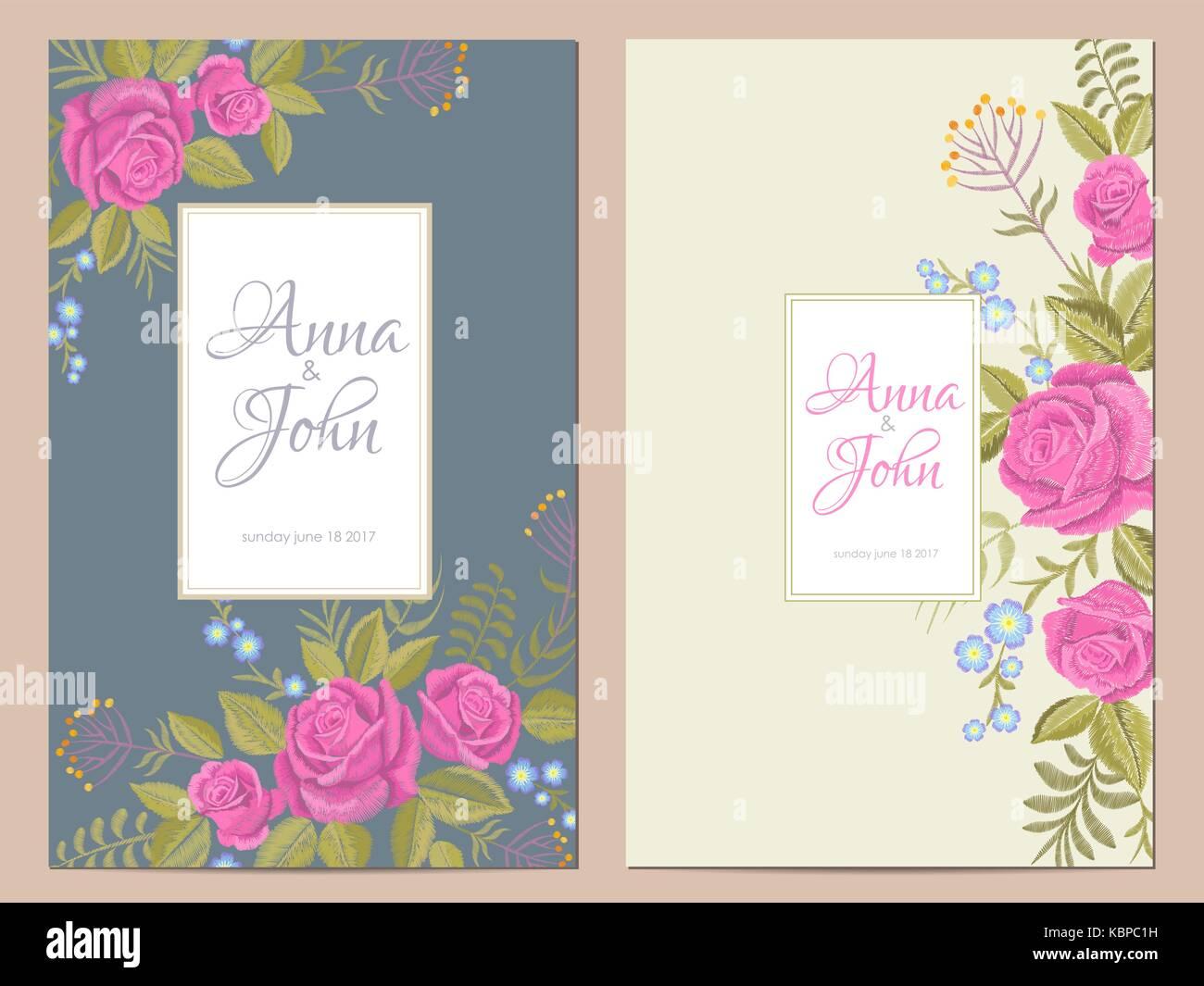 Zarte Blumen Hochzeit Einladung. Datum Speichern Grußkarte Floral Design.  Rosa Rose Rustikalen Traditionelle Vintage Stickerei Vector Template Kunst