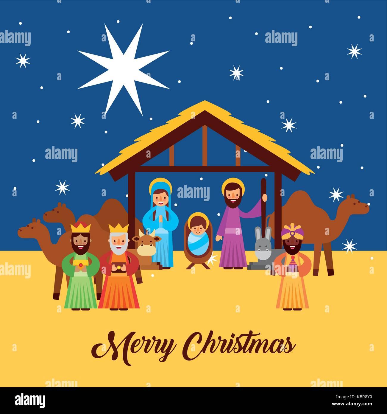 Weihnachten Krippe Bilder.Frohe Weihnachten Grüße Mit Jesus In Der Krippe Maria Und Josef
