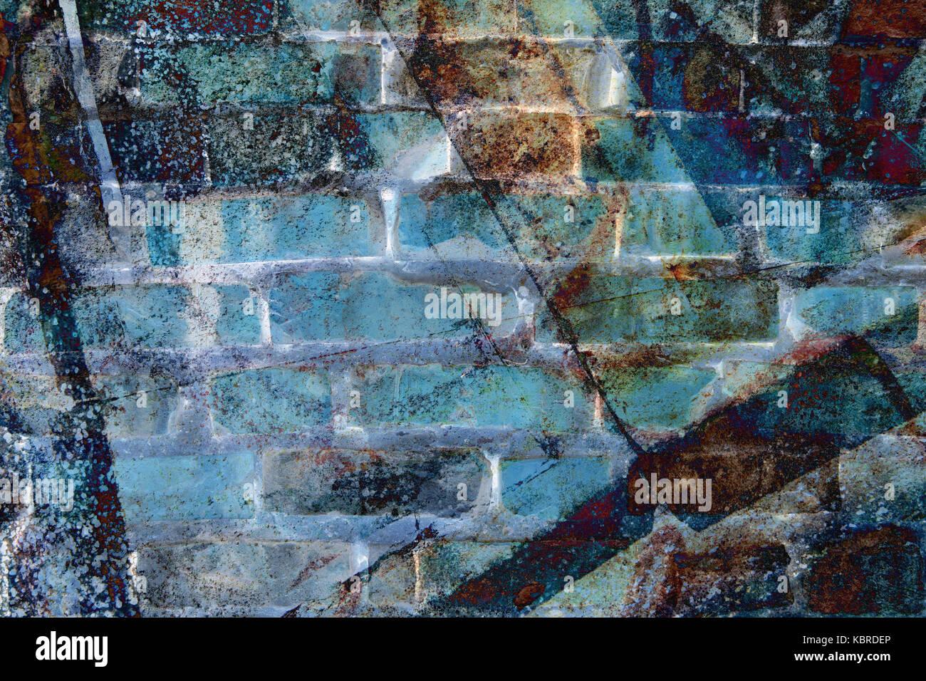 Wand mit abstrakt Farben - Zauberstab abstrakt verfremdet in blauen Farben Stockbild