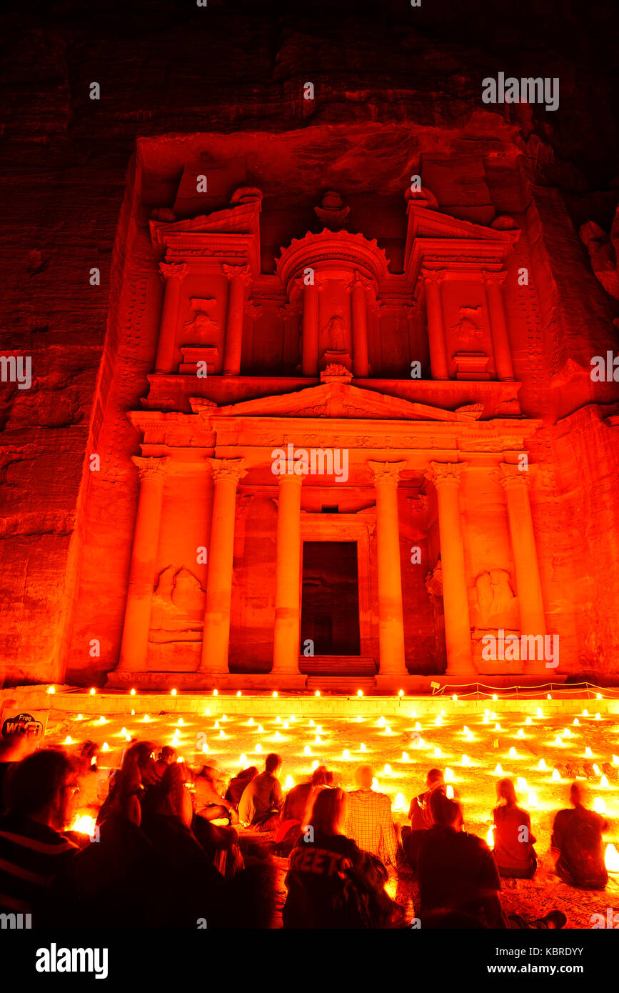 Nacht im Petra, kulturelle zeigen, Petra, Wadi Musa, Jordanien Stockbild