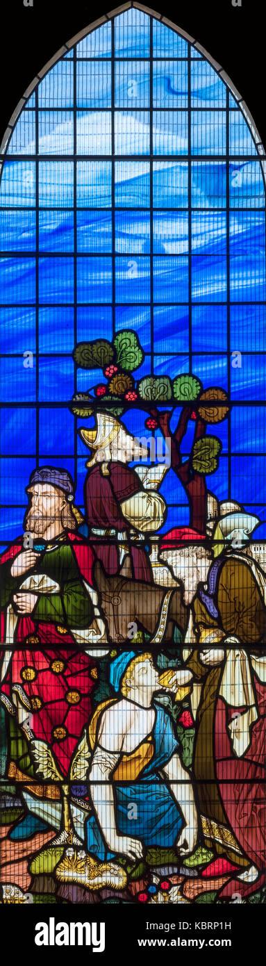Der gute Samariter durch gotische Erweckungsbewegung Zahlen mit einem dramatischen 20. Jahrhundert Hintergrund, Stockbild