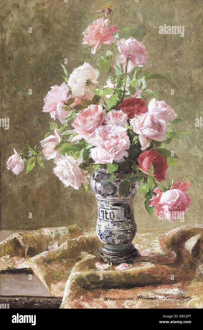 Henri Biva, rosa Rosen in Vollblüte, Öl auf Leinwand, 91,4 x 61 cm Stockfoto