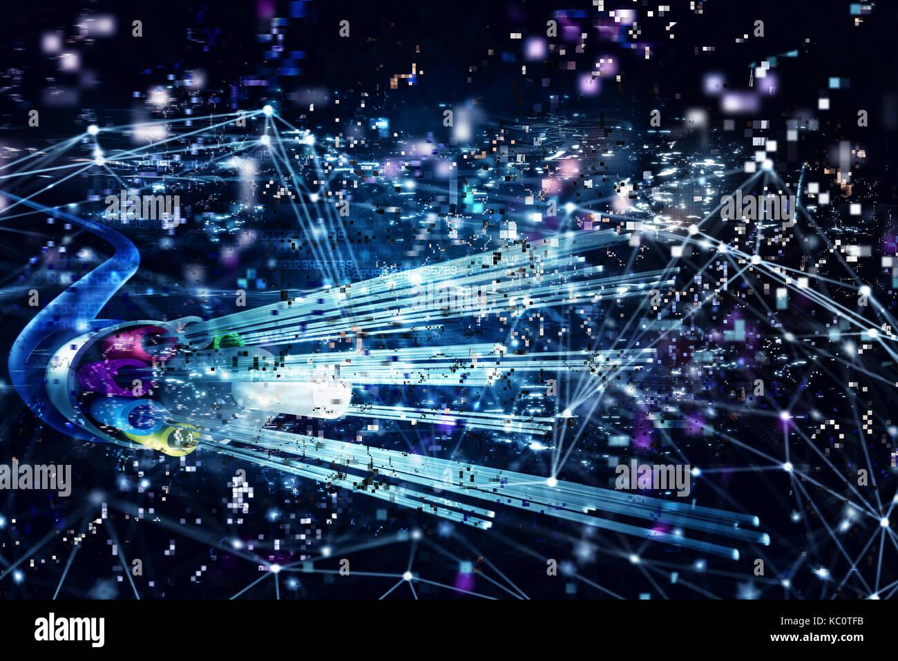 Zusammenhang mit der optischen Faser. Konzept der Schnellen Internet. 3D-Rendering Stockbild