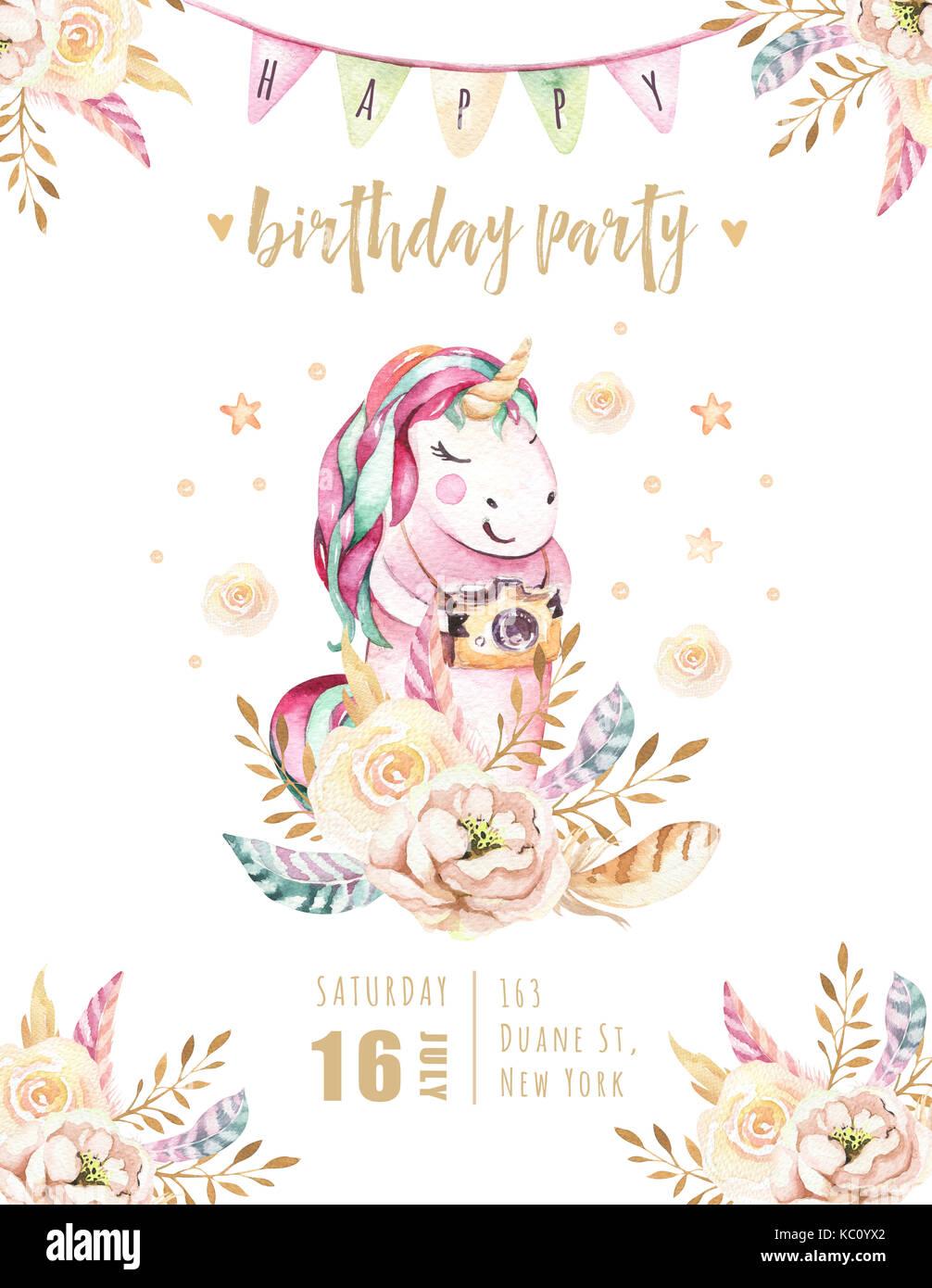Cute Aquarell Einhorn Einladungskarte Isoliert. Baumschule Einhörner  Abbildung. Prinzessin Rainbow Einhörner Poster. Trendy Pink Cartoon Pferd.