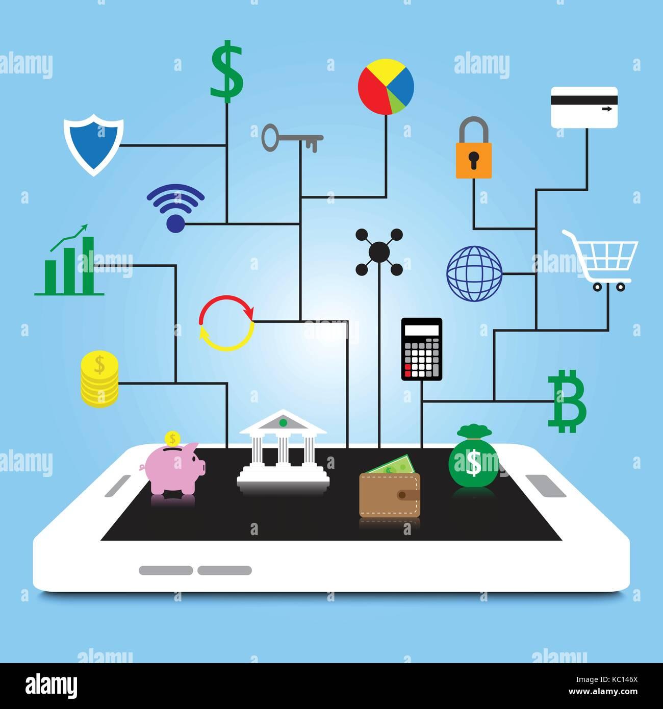 19 fintech bunte Symbole sind an weißen Smartphone durch schwarze Linien auf blauem Hintergrund, die in der Stockbild