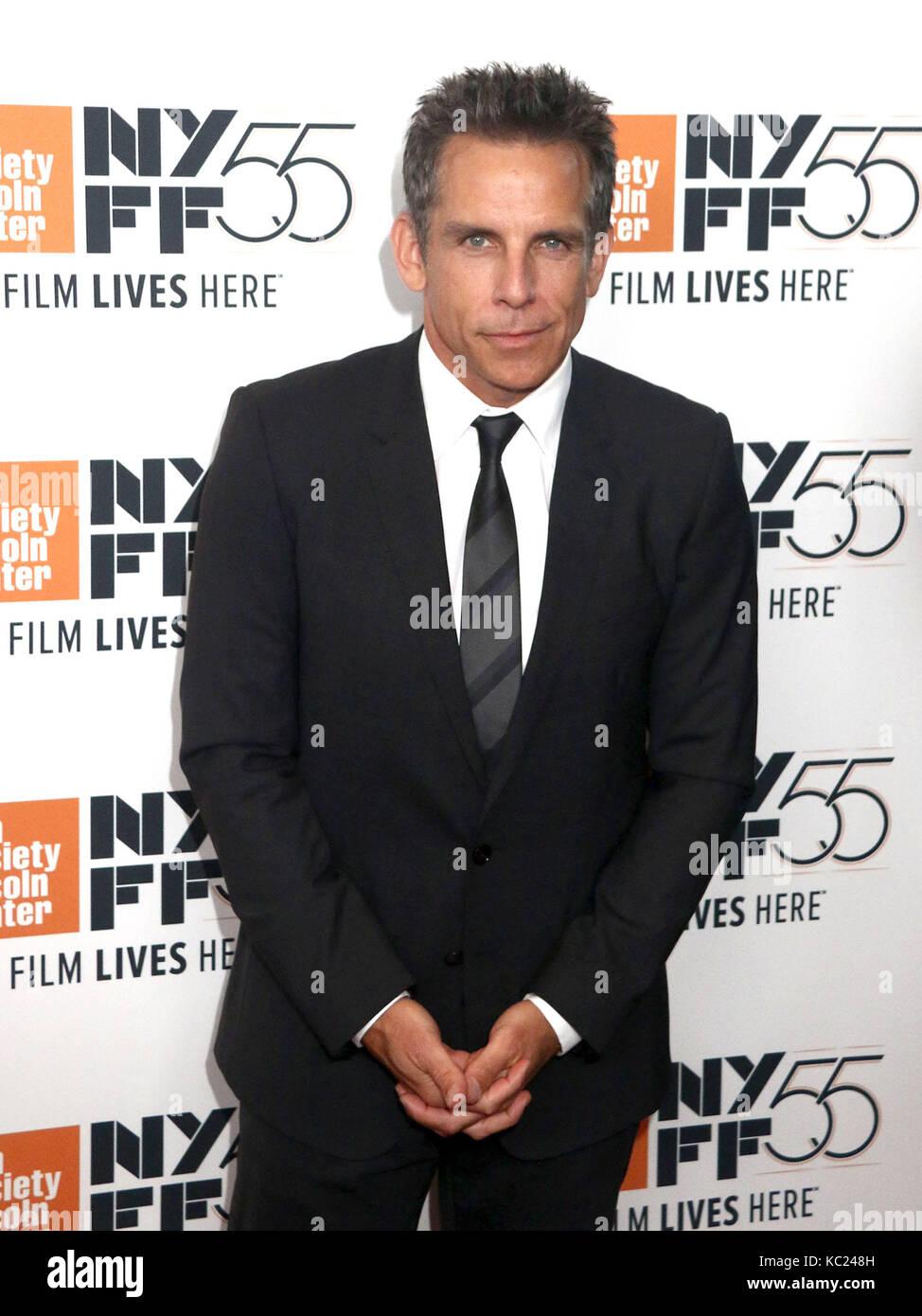 New York, New York, USA. 1. Okt 2017. Schauspieler Ben Stiller besucht die 55th New York Film Festival Premiere Stockfoto