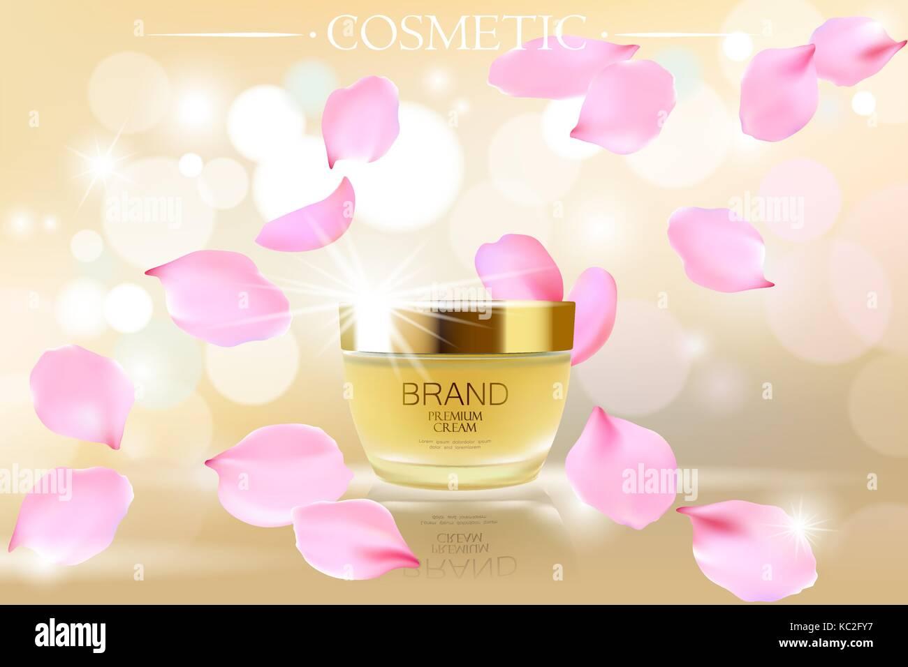 Golden Skin Care Creme Kosmetik Ads Realistische 3d Vektor