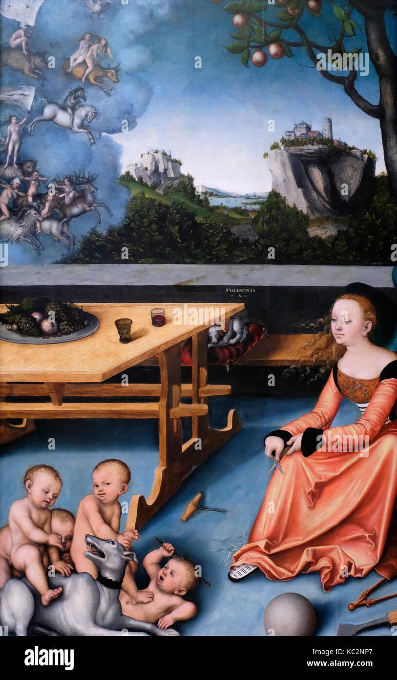 Eine Allegorie der Melancholie - Lucas Cranach, 1528 Stockbild