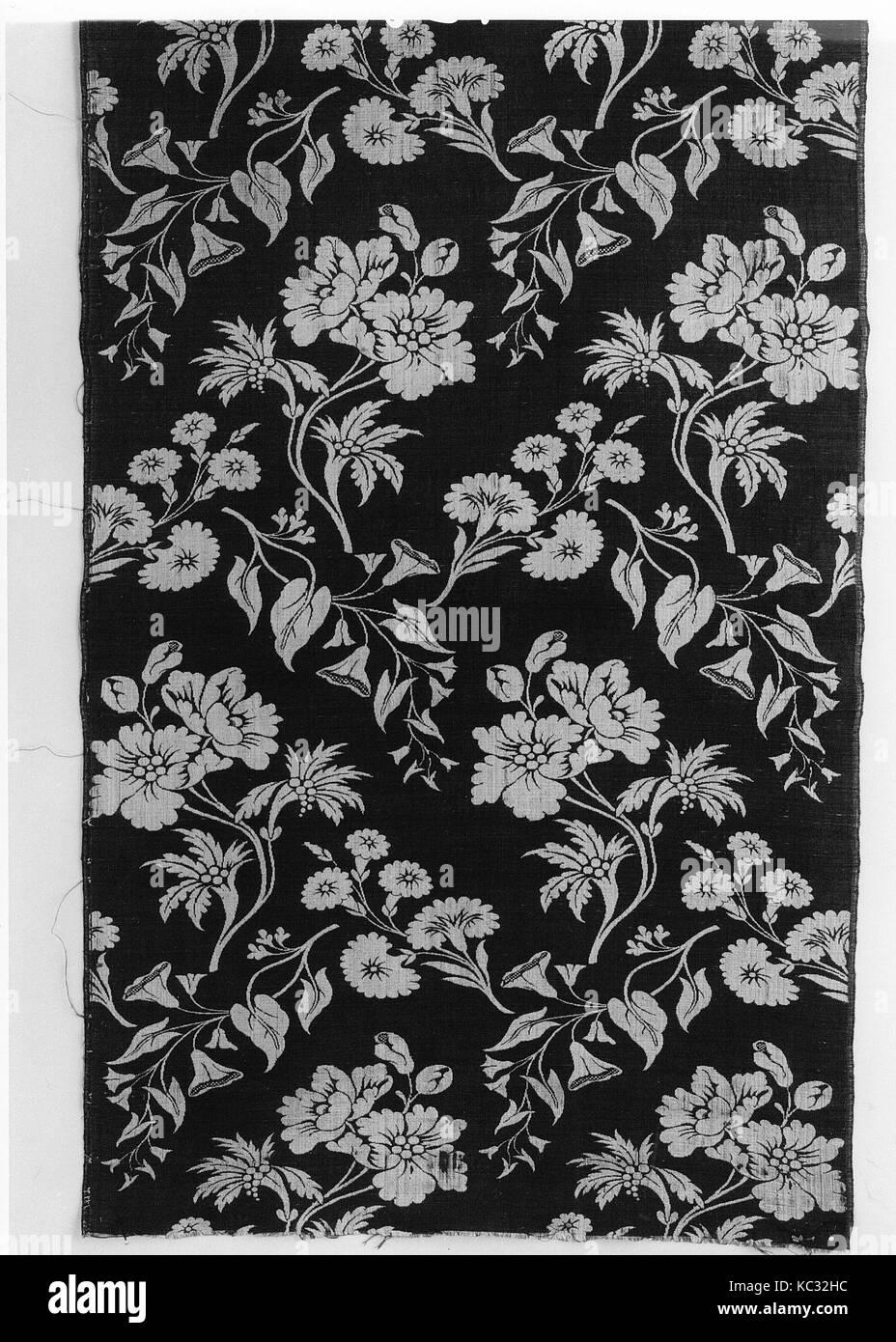Länge, Ca. 1730 s - 40 s, British, Spitalfields, Seide, H. 41 1/2x W. 18 3/4 Zoll (105,4 x 47,6 cm), Textiles Stockbild