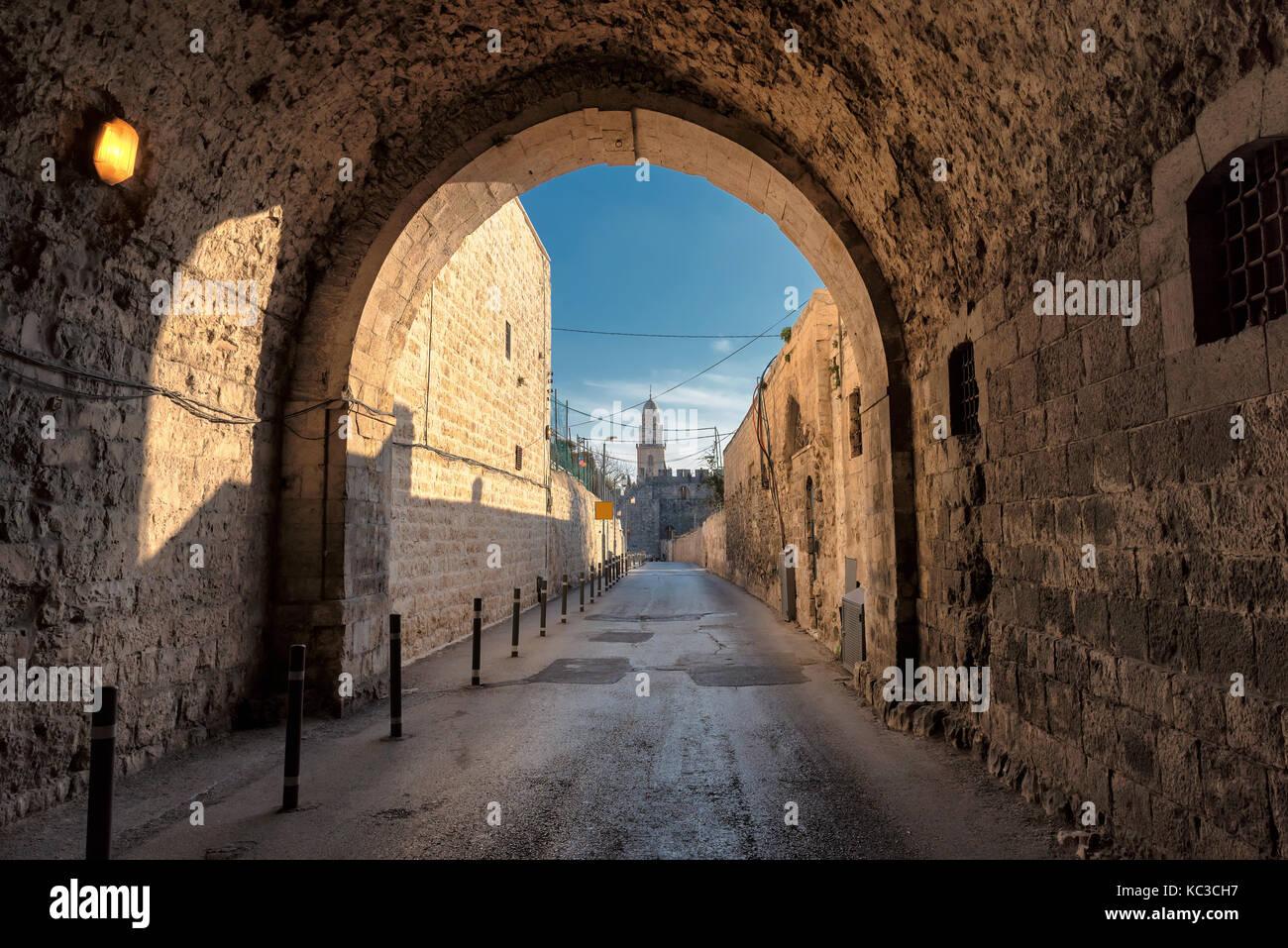 Straße in der Altstadt von Jerusalem, Israel. Stockbild