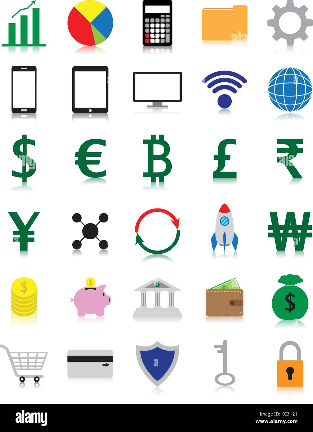 Vektor einfach zu bedienende 30 bunte fintech Flachbild-Symbole mit Reflexion einschließlich mehrerer Währungen Stockbild