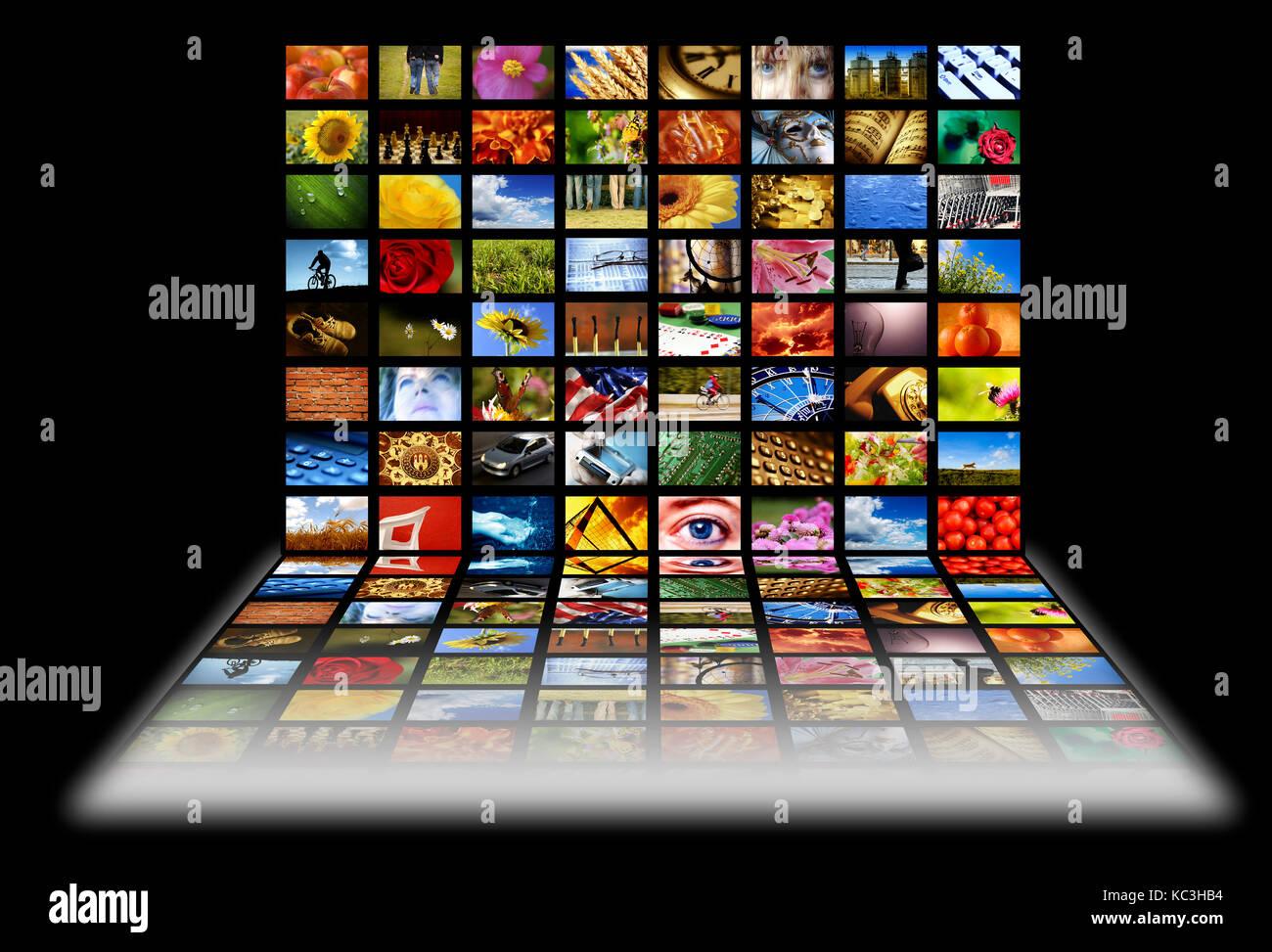 Viele Bildschirme mit Bildern Stockbild
