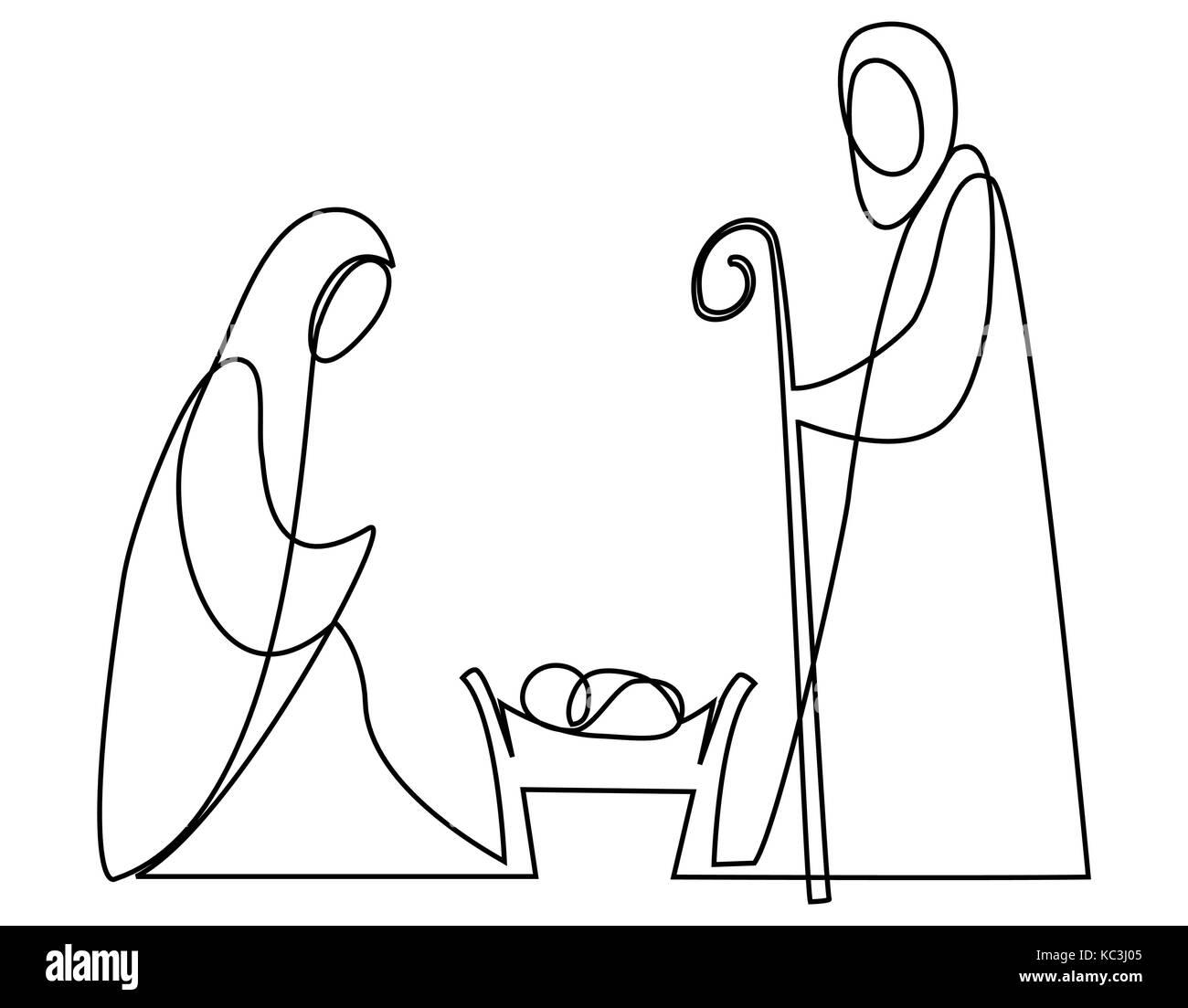 Krippe mit der Heiligen Familie eine Linie zeichnen Vektor Abbildung ...