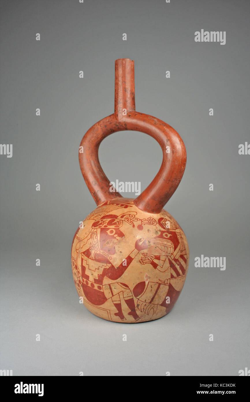Zahlen konfrontieren, Flasche, 4. - 7. Jahrhunderts, Peru, Moche, Keramik, H., 9 x Durchm. 6 1/2 in. (22,9 x 16,5 Stockbild