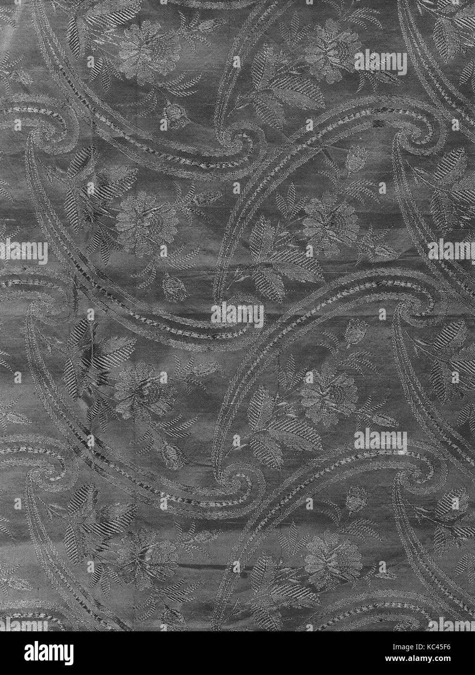 Stück, 1830 s - 40 s, französischen oder britischen, Seide, L. 39x W. 86 1/8 Zoll (99,1 x 218,8 cm), Textiles Stockbild