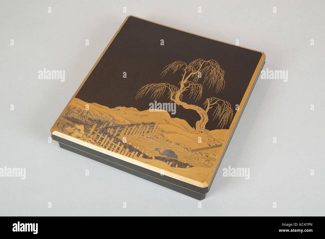 Schreiben Box (Suzuribako) mit Landschaftsgestaltung, 19. Jahrhundert Stockbild