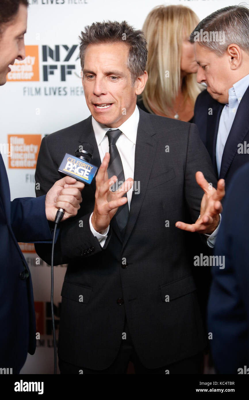 New York, USA. Oktober 2017. Ben Stiller nimmt am 1. Oktober 2017 an der nordamerikanischen Premiere der Meyerowitz Stockfoto