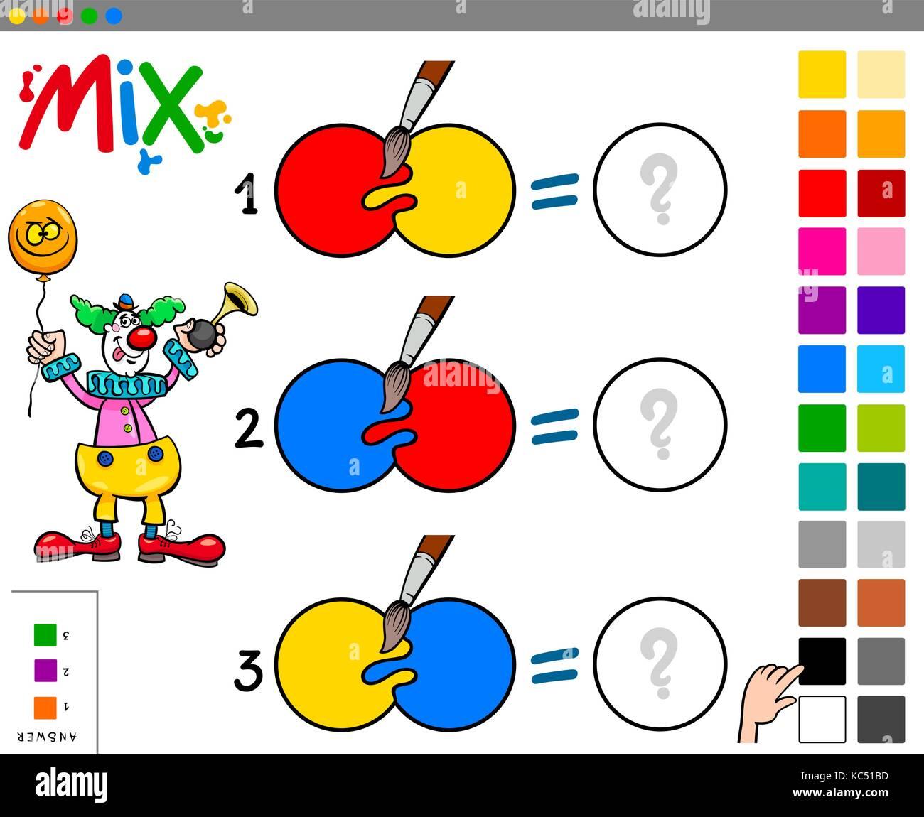cartoon abbildung: mischen von farben lernspiel für kinder mit clown