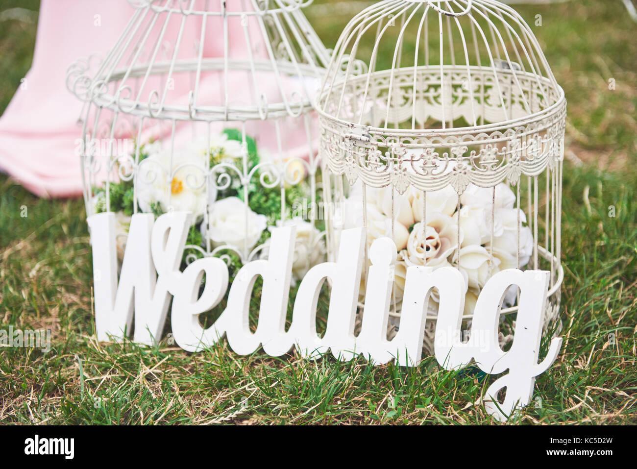 Holz weiße Hand Willkommen Hochzeit Dekoration. Stockbild