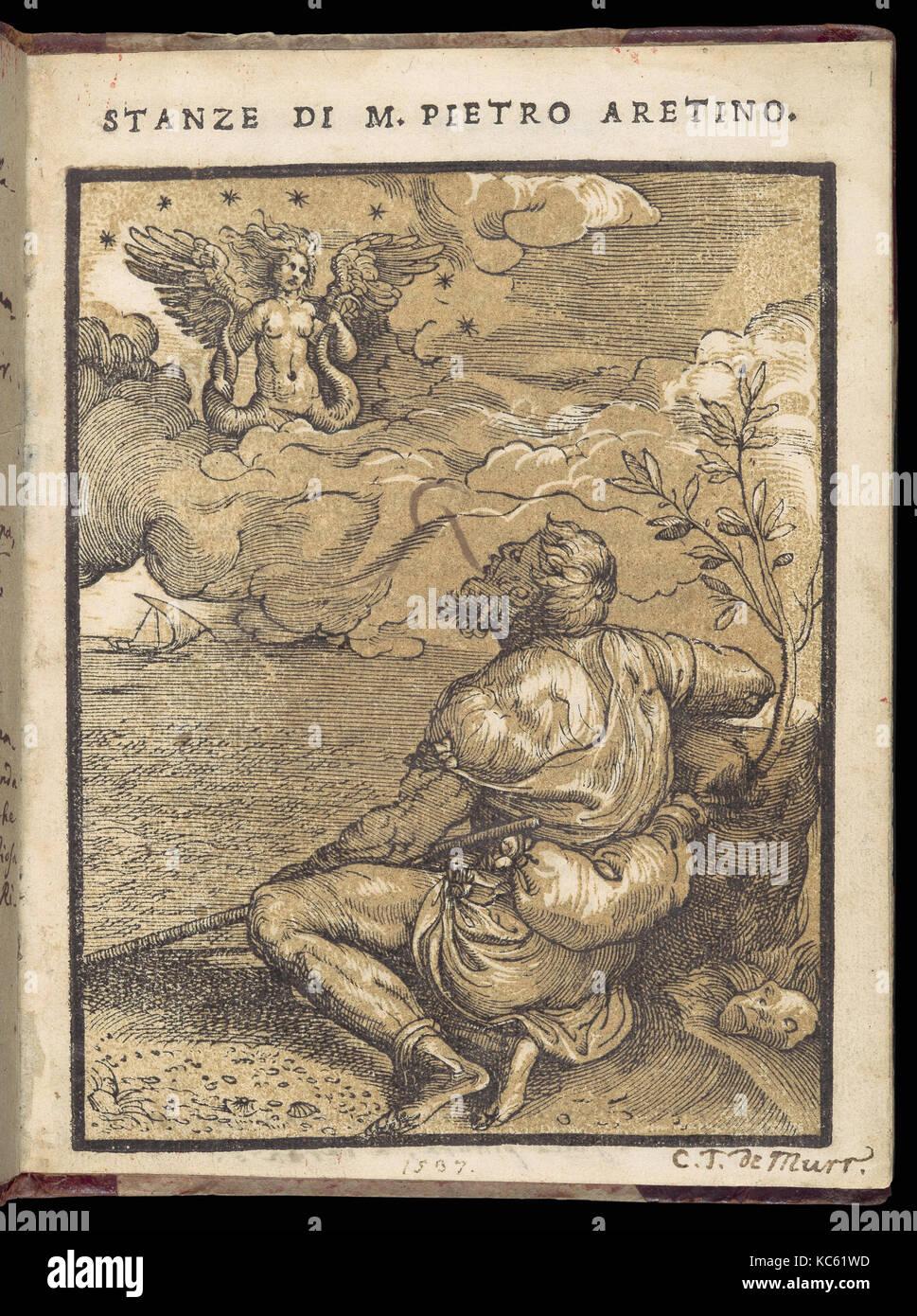 Stanze di m. Pietro Aretino, 23. Januar 1537, gedruckte Buch mit holzschnitt Abbildungen, 7 5/8 x 5 13/16 x 5/16 Stockbild