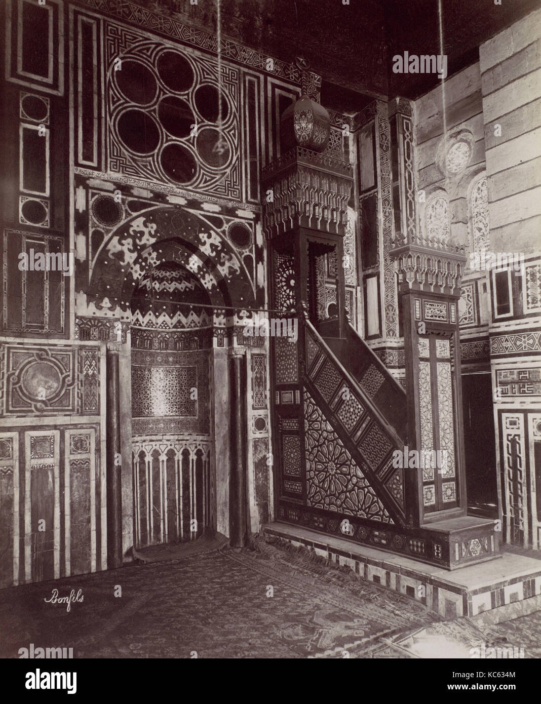 Le Caire - Intérieur de la mosquée El Bordei, Félix Bonfils, 1870 s Stockbild
