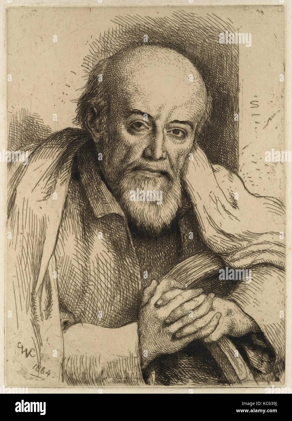 Porträt von Samuel Palmer, 1884, Radierung, Platte: 7 3/4 x 5 11/16 in. (19,7 x 14,5 cm), Drucke, Charles West Stockbild