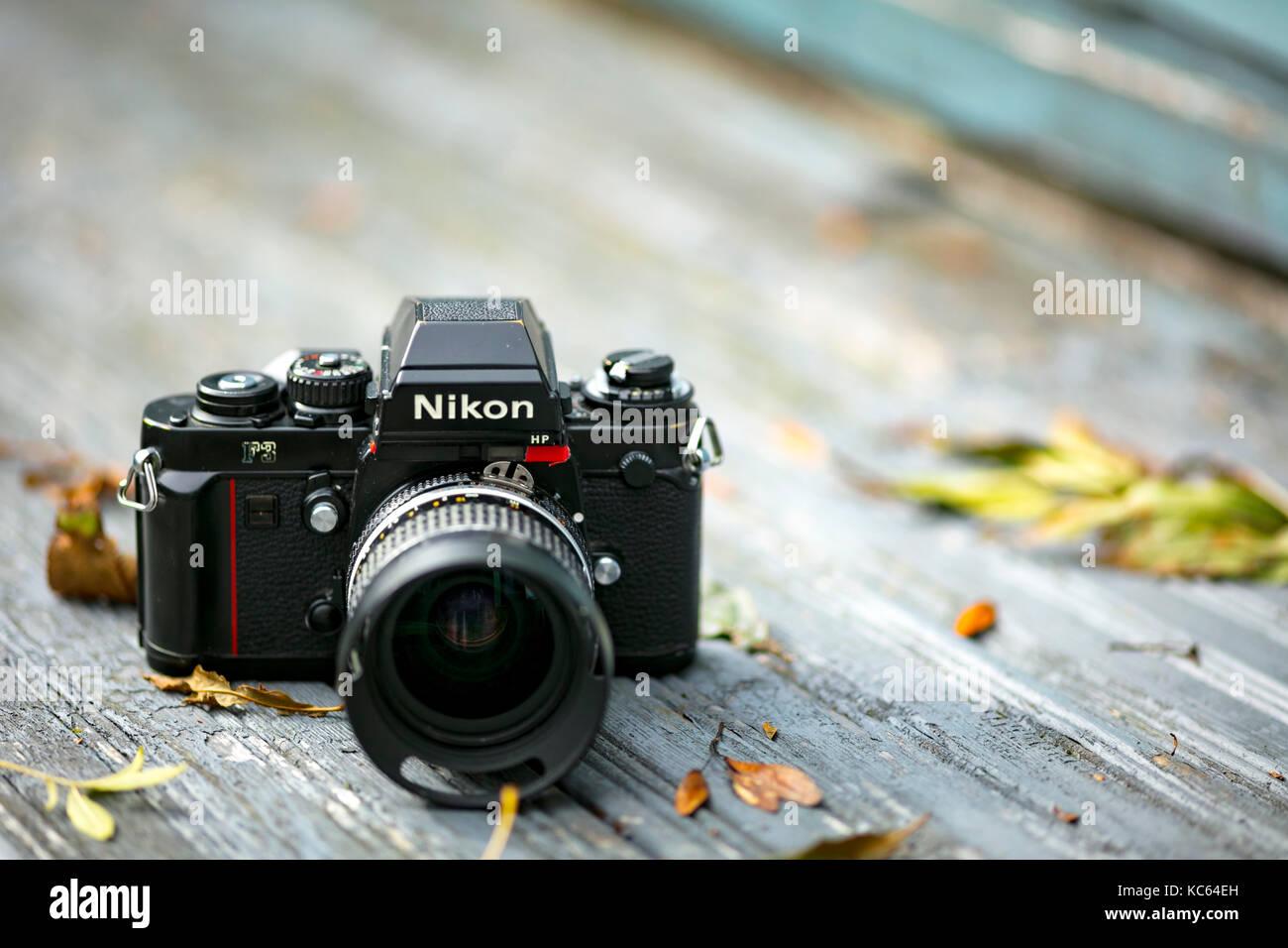 Nikon F3 Single Lens Reflex 35mm Film Kamera, Erste startete im Jahr 1980 und blieb in der Produktion bis 2001. Stockbild