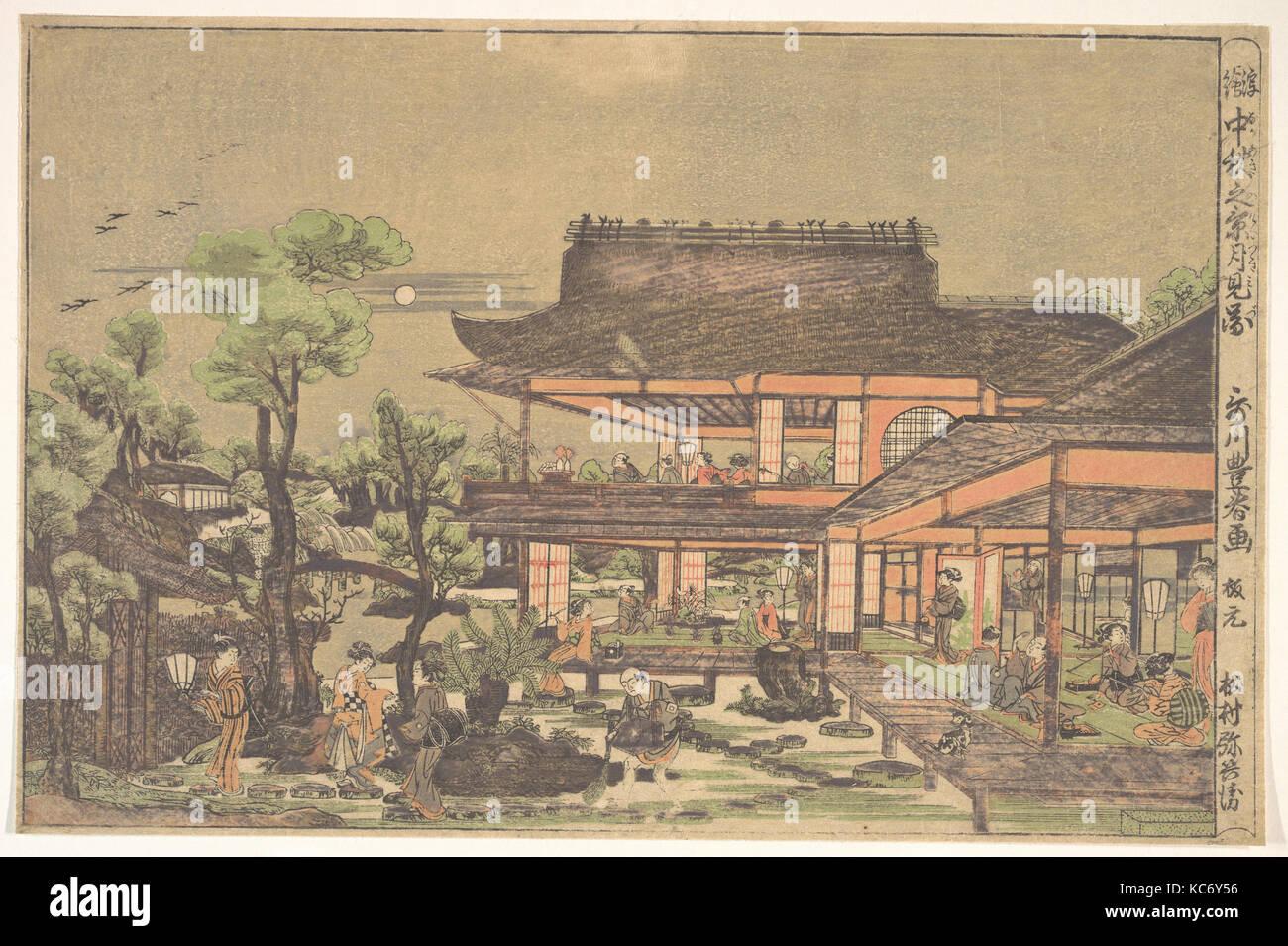"""Kaffee - Haus; Szene: """"Anzeigen der Mond Mitte Herbst', Utagawa Toyoharu Stockbild"""
