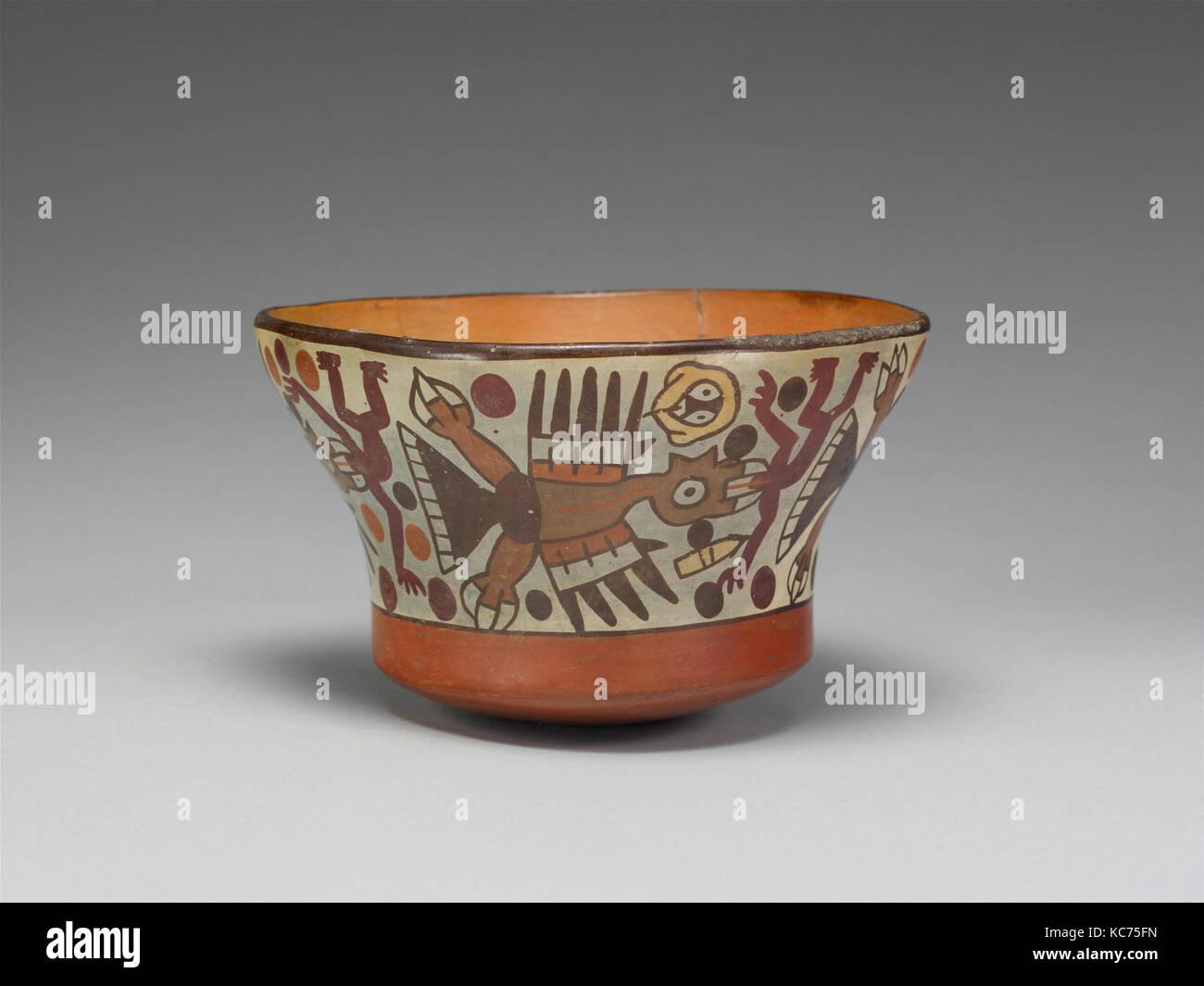 Schüssel, 2./4. Jahrhunderts, Peru, Nazca, Keramik, H x W x D 3 3/8 x 5 1/2 x 7 3/4 in. (8,6 x 14 x 19,7 cm), Stockbild