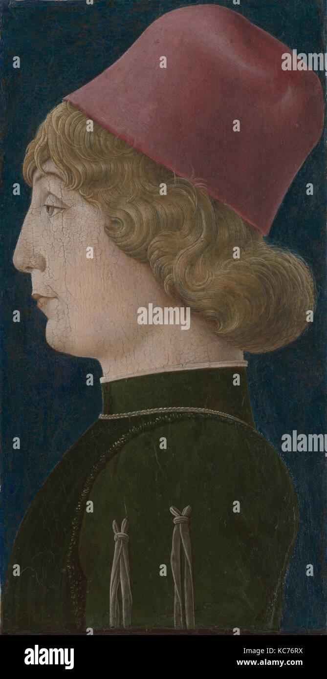 Porträt eines jungen Mannes, 1470 s, Tempera auf Holz, insgesamt 11 1/8 x 7 3/4 in. (28,3 x 19,7 cm); Oberfläche Stockbild
