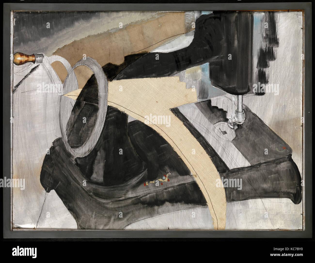 Hand Nähmaschine, 1927, öl, ausgeschnitten und eingefügt Bettwäsche ...
