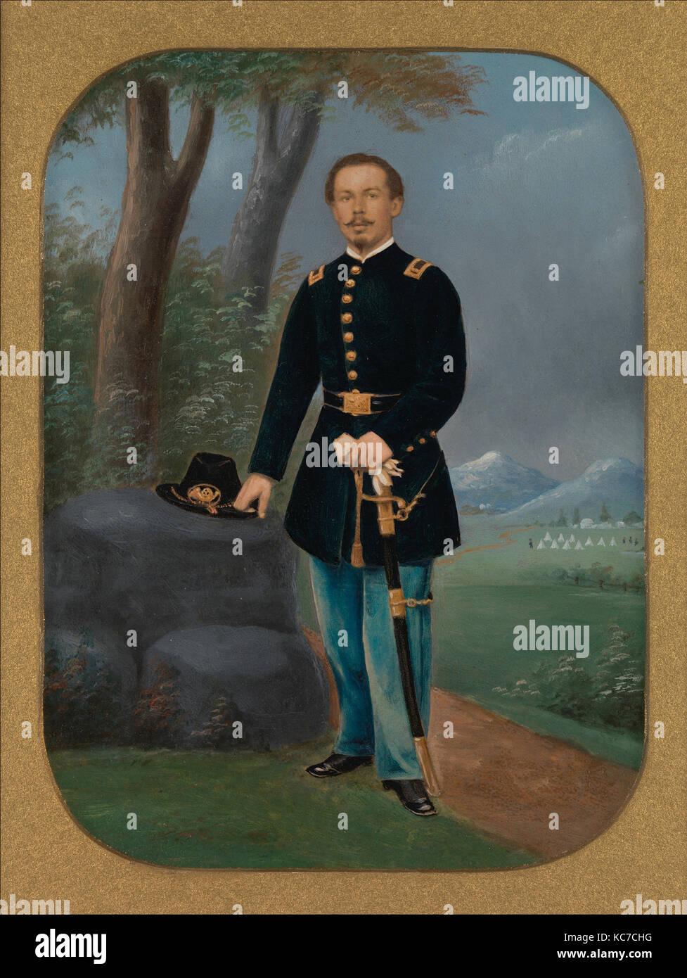 Union Offizier in der Armee, 1861-65, Eiweiß silber Drucken aus Glas negativ mit der angewandten Farbe, Bild: Stockbild