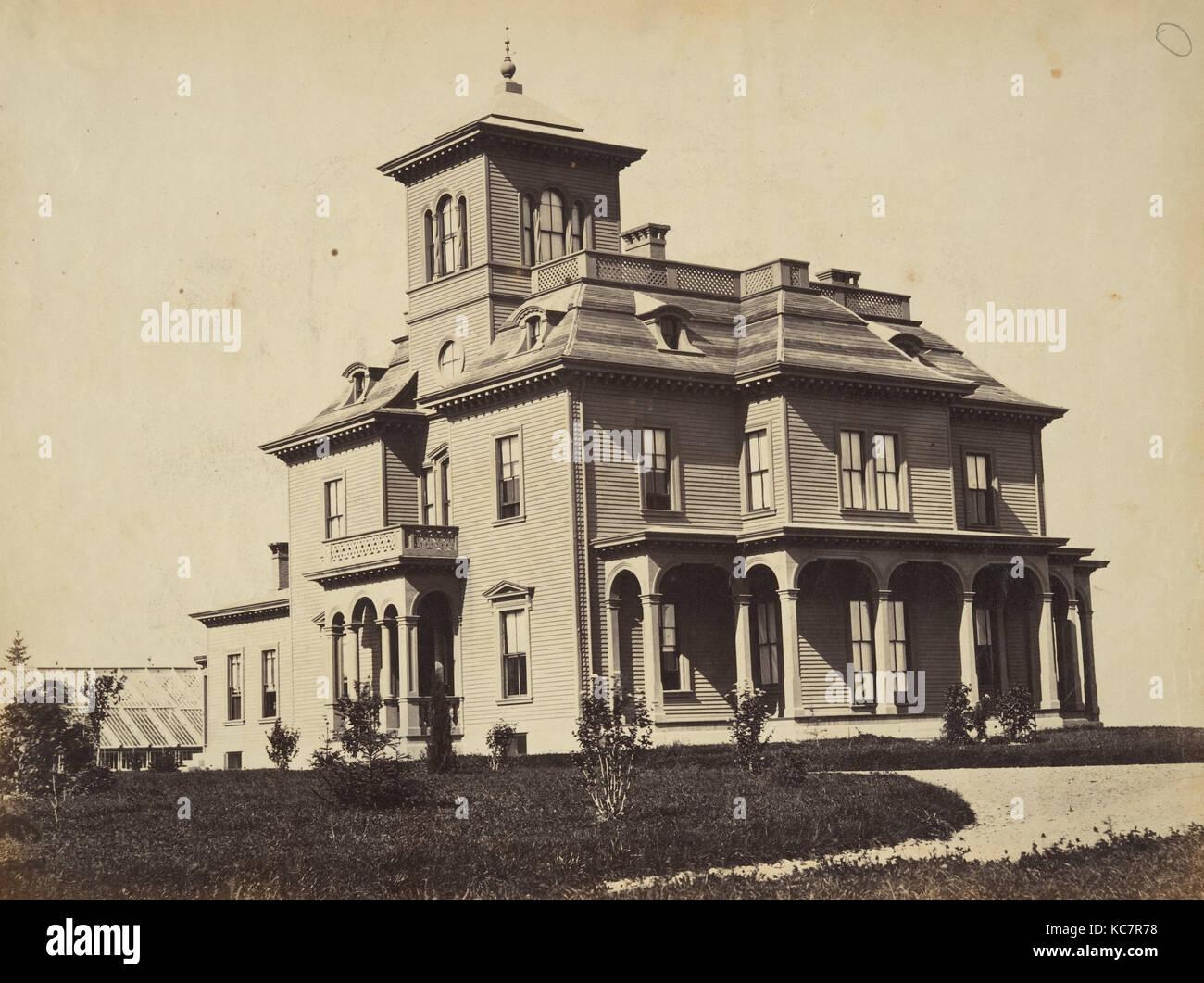 Viktorianisches Haus Ca 1860 Eiweiss Silber Drucken Aus Glas