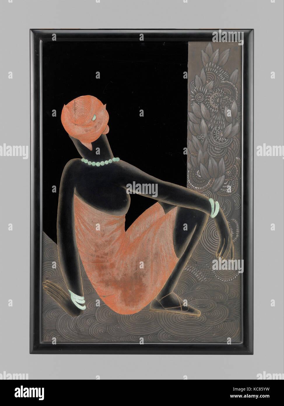 Afrikanische Frau 1928 30 Lackiertem Holz Oxidiert Kupfer 36 1 2