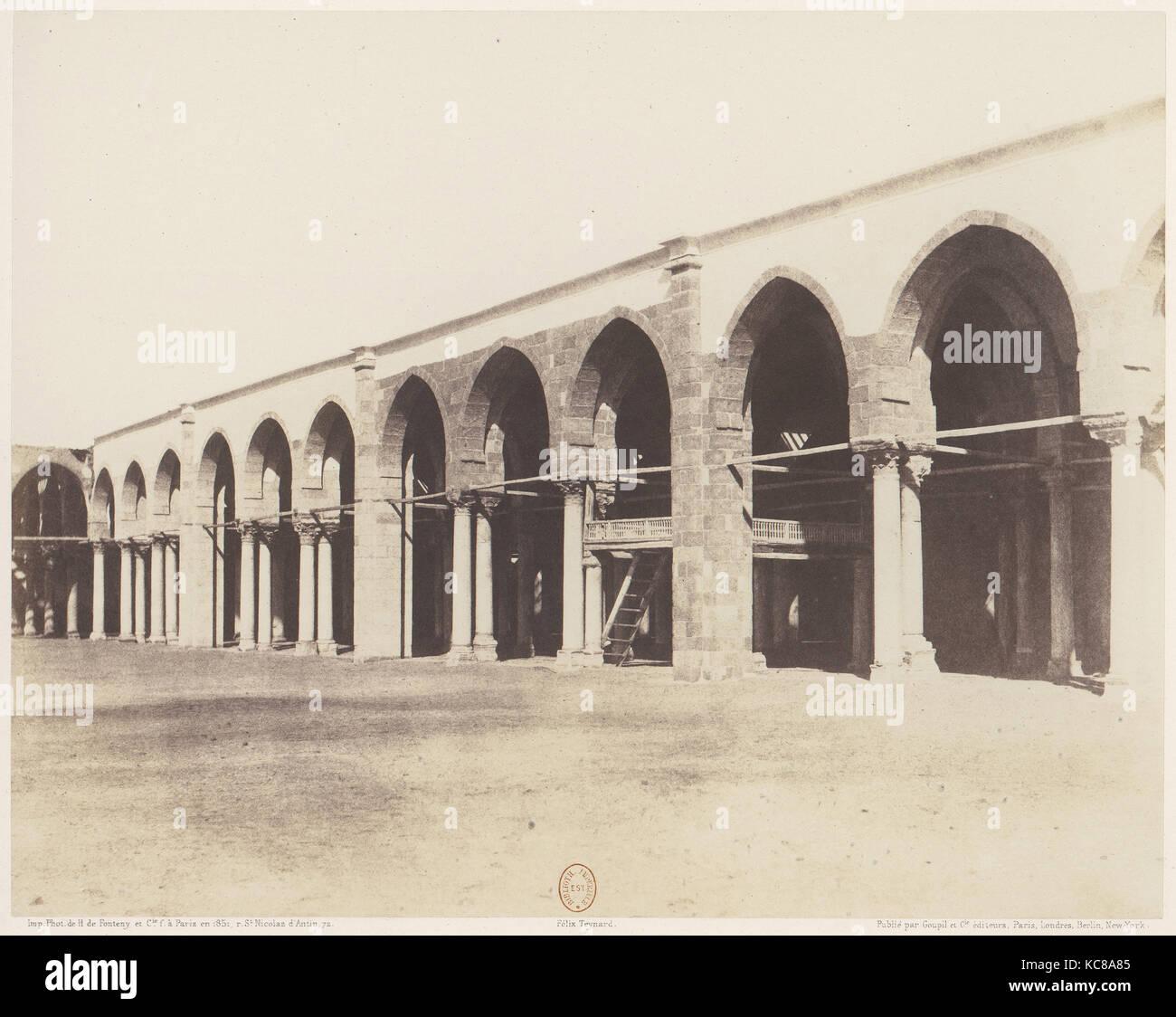 Le Kaire, Mosquée d'Amrou - Intérieur - Côté du Sanctuaire, Felix Teynard, 1851-52, Gedruckt Stockbild