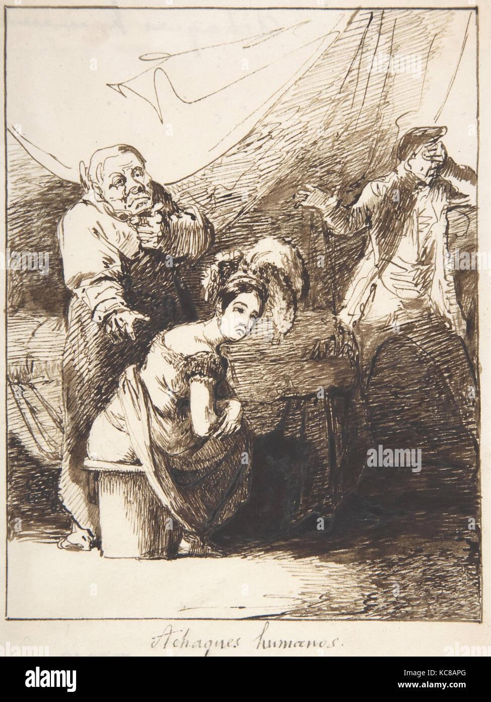 """Menschliche Erkrankungen ('achaques kanalisieren""""), Leonardo Alenza y Nieto, 1807-45 Stockbild"""