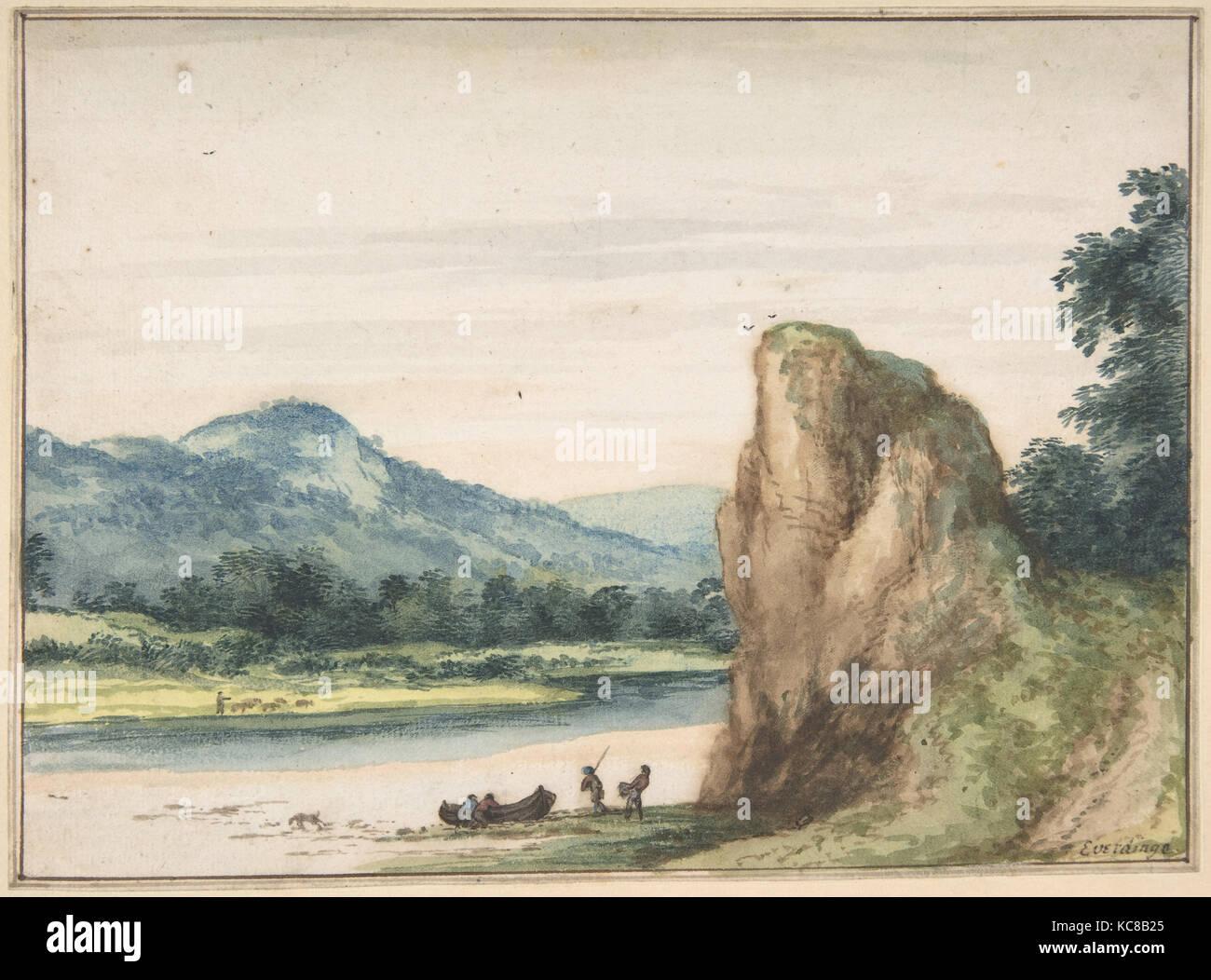 Landschaft, Mitte des 17. Jahrhunderts, Aquarelle. Framing in Stift und Tinte. Braun, 5 5/8 x 7 5/8 in. (14,3 x Stockbild