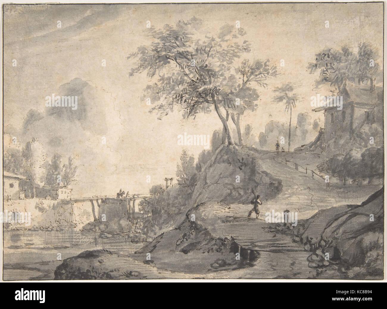 Landschaft, 17. Jahrhundert, Stift, Braun, Pinsel und grau Waschen ...