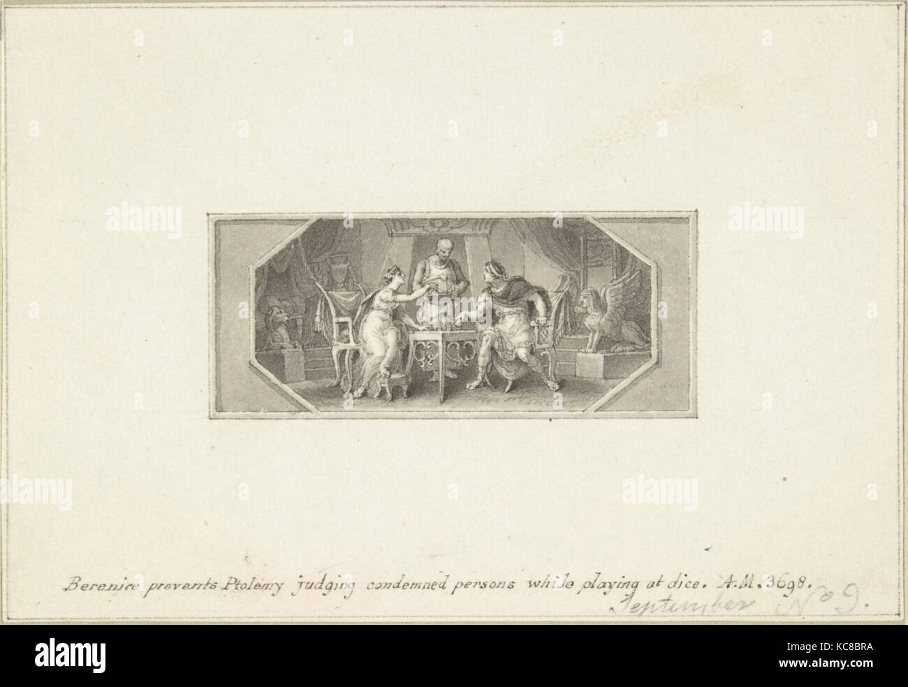Berenice verhindert, dass Ptolemäus Beurteilung verurteilte Personen beim Spielen bei Dice, Edward Francis Stockbild