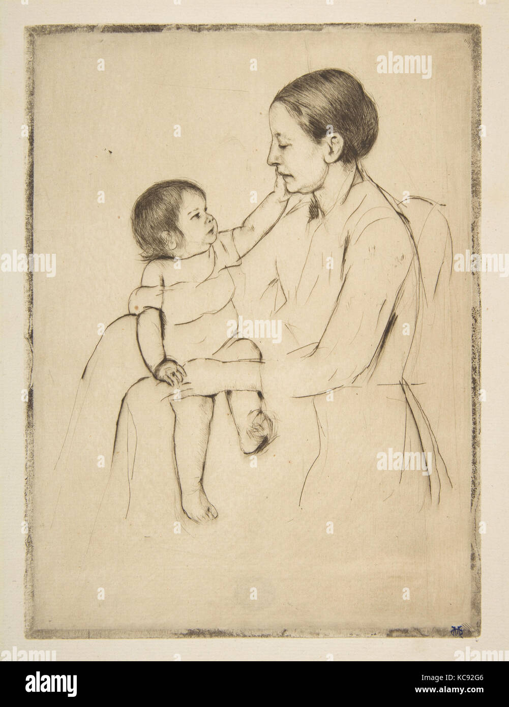 Die liebkosung, Ca. 1891, kaltnadelradierung; zweite Zustand, Platte: 7 3/4 x 5 3/4 in. (19,7 x 14,6 cm), Drucke, Stockbild