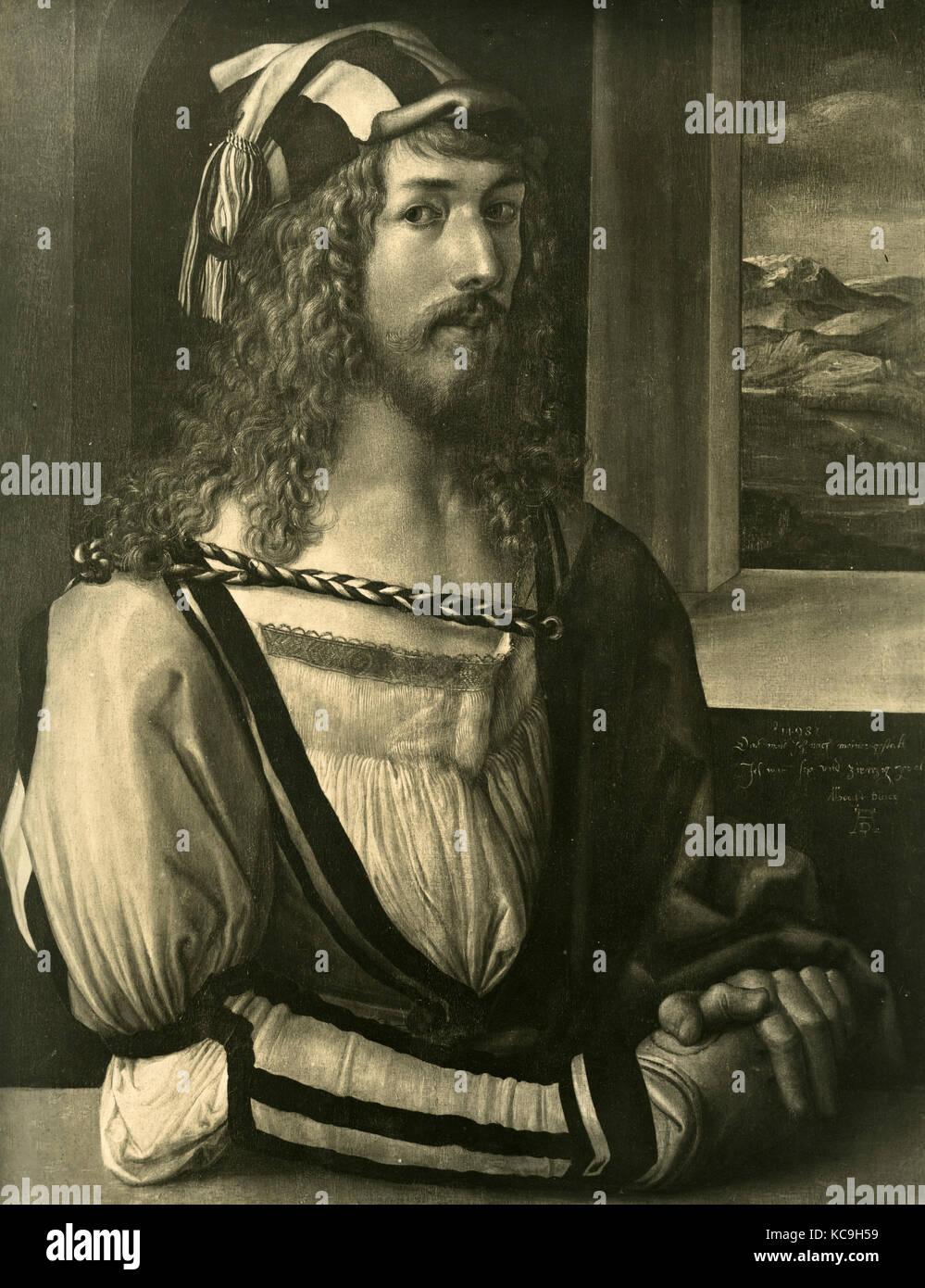 Selbst- porträt des deutschen Malers Dürer albrech Stockbild