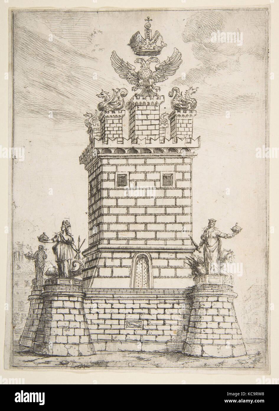 Der quadratische Turm, 1637, Radierung; 2. der Zustand von zwei (mannocci), Blatt: 7 11/16 x 5 11/16 in. (19,5 x Stockbild