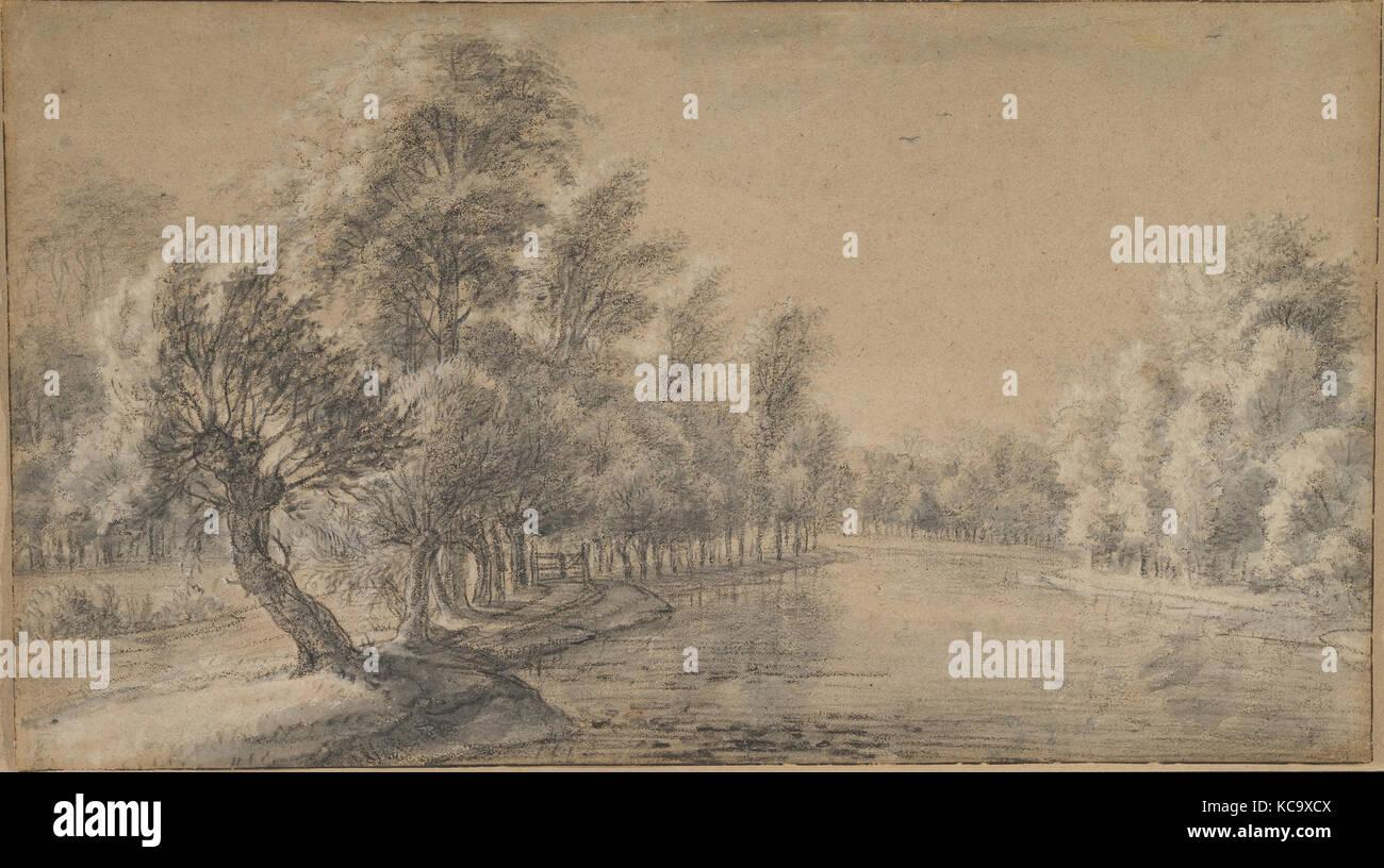 Flusslandschaft, 17. Jahrhundert, schwarze und weiße Kreide, Pinsel ...