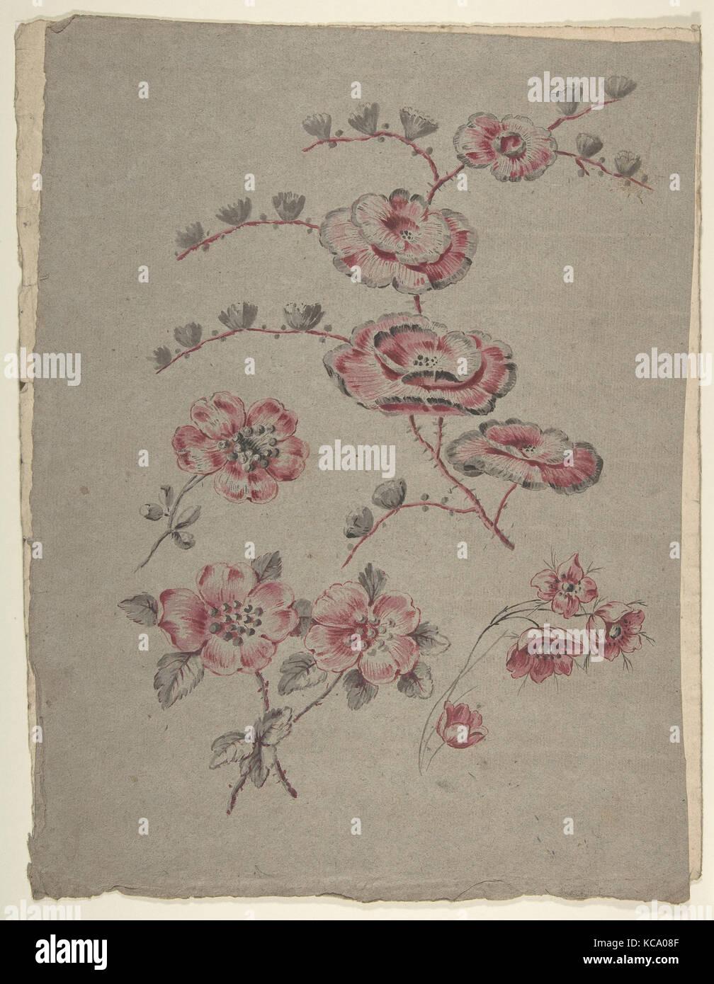Pink Flower Pattern, Anonym, Französisch, 19., 19. Jahrhundert Stockbild