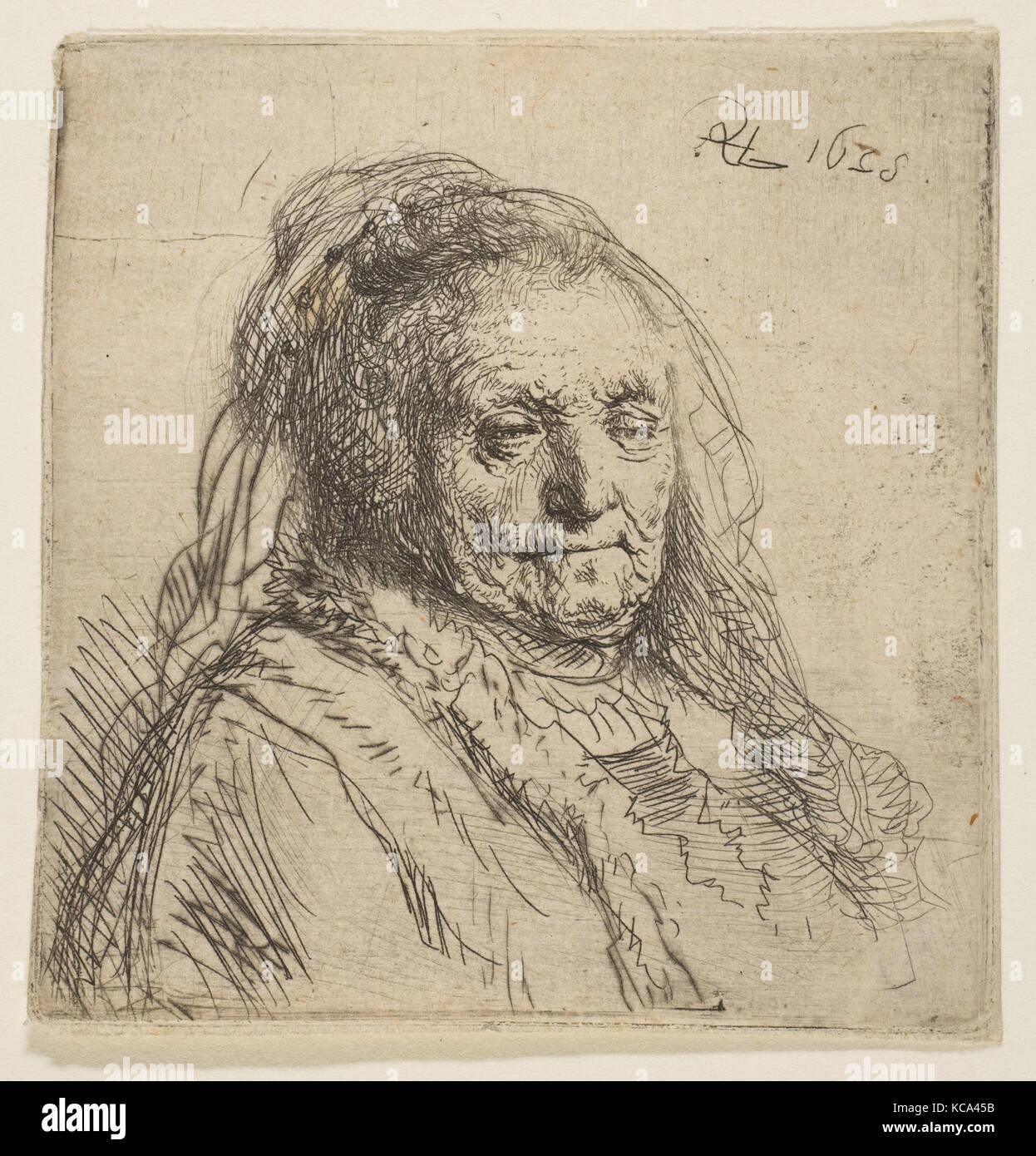Des Künstlers Mutter: Kopf und Büste, Three-Quarters Rechts, Rembrandt, 1628 Stockbild