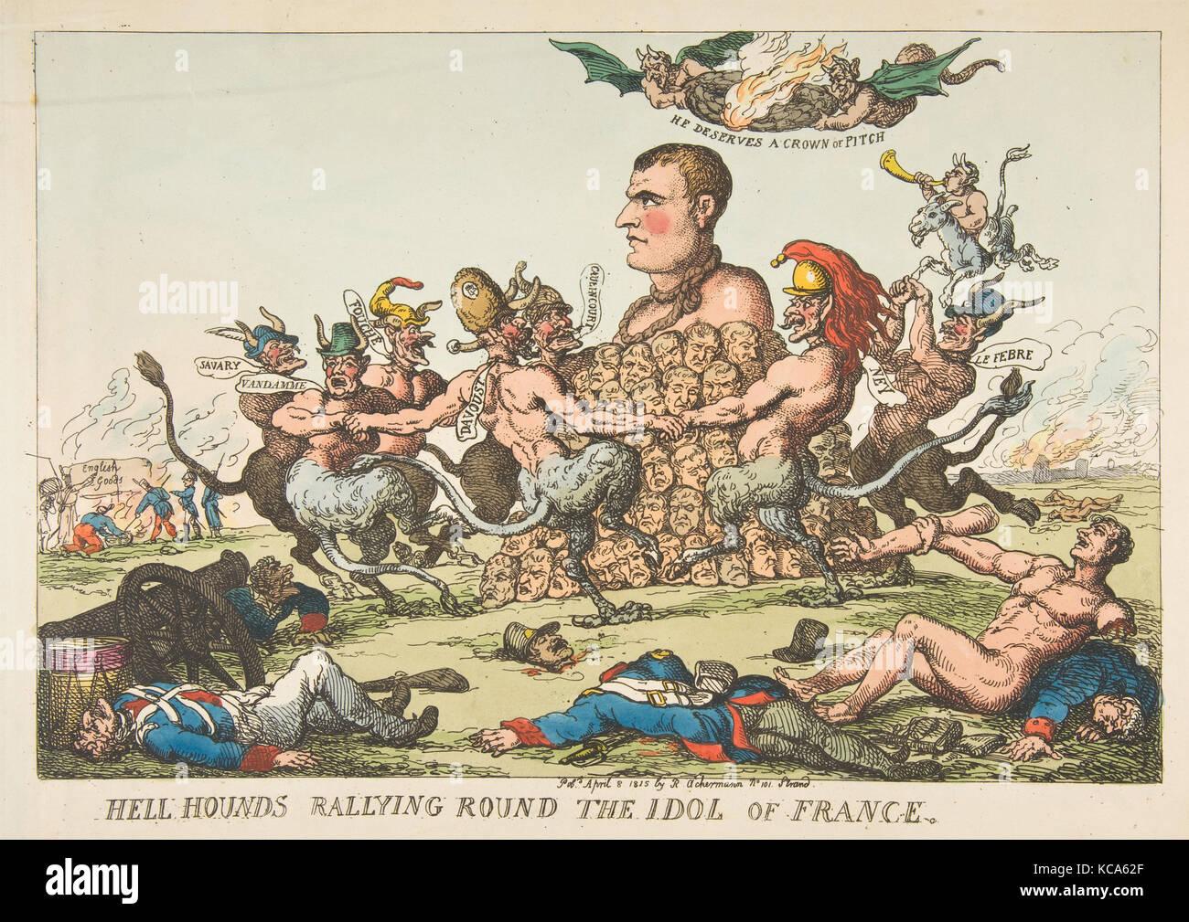Hölle Jagdhunde Rallyesport runden das Idol von Frankreich, Thomas Rowlandson, 8. April 1815 Stockbild