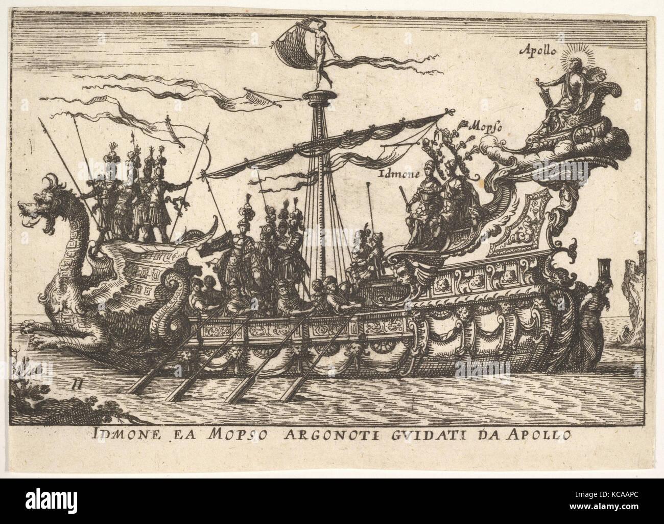 Platte11: idmon und mopsus geleitet von Apollo (idmone ea mopso argonoti guidati da Apollo), mit einem Heiligenschein Stockbild