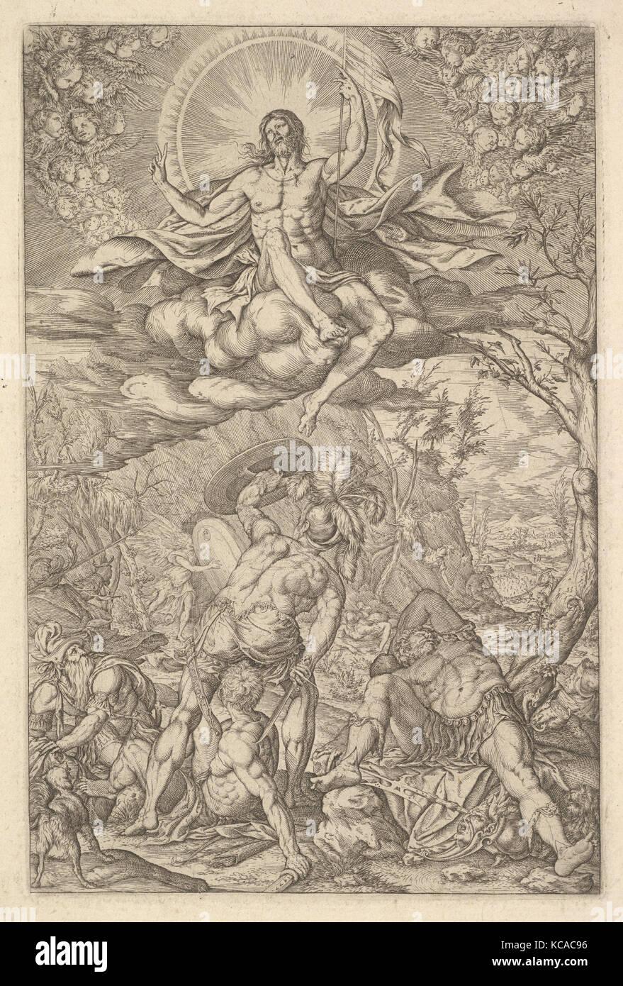 Die Auferstehung Christi, durch eine Aureole und Wolken mit Linien der geflügelte Putten zu beiden Seiten umfasste, Stockbild