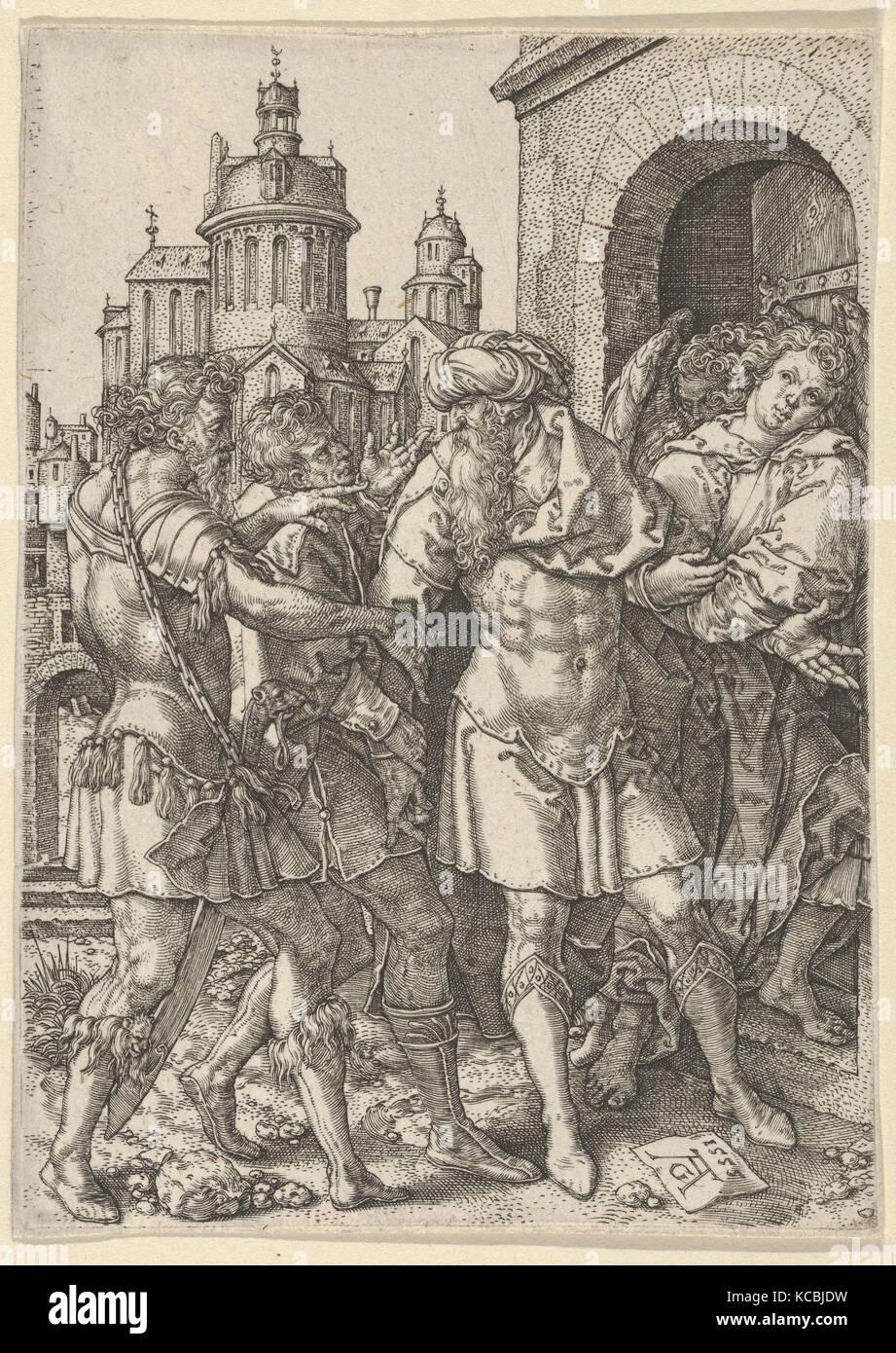 Viele verhindert die Hurer aus Gewalt, aus der Geschichte von Lot, Heinrich Aldegrever, 1555 Stockbild