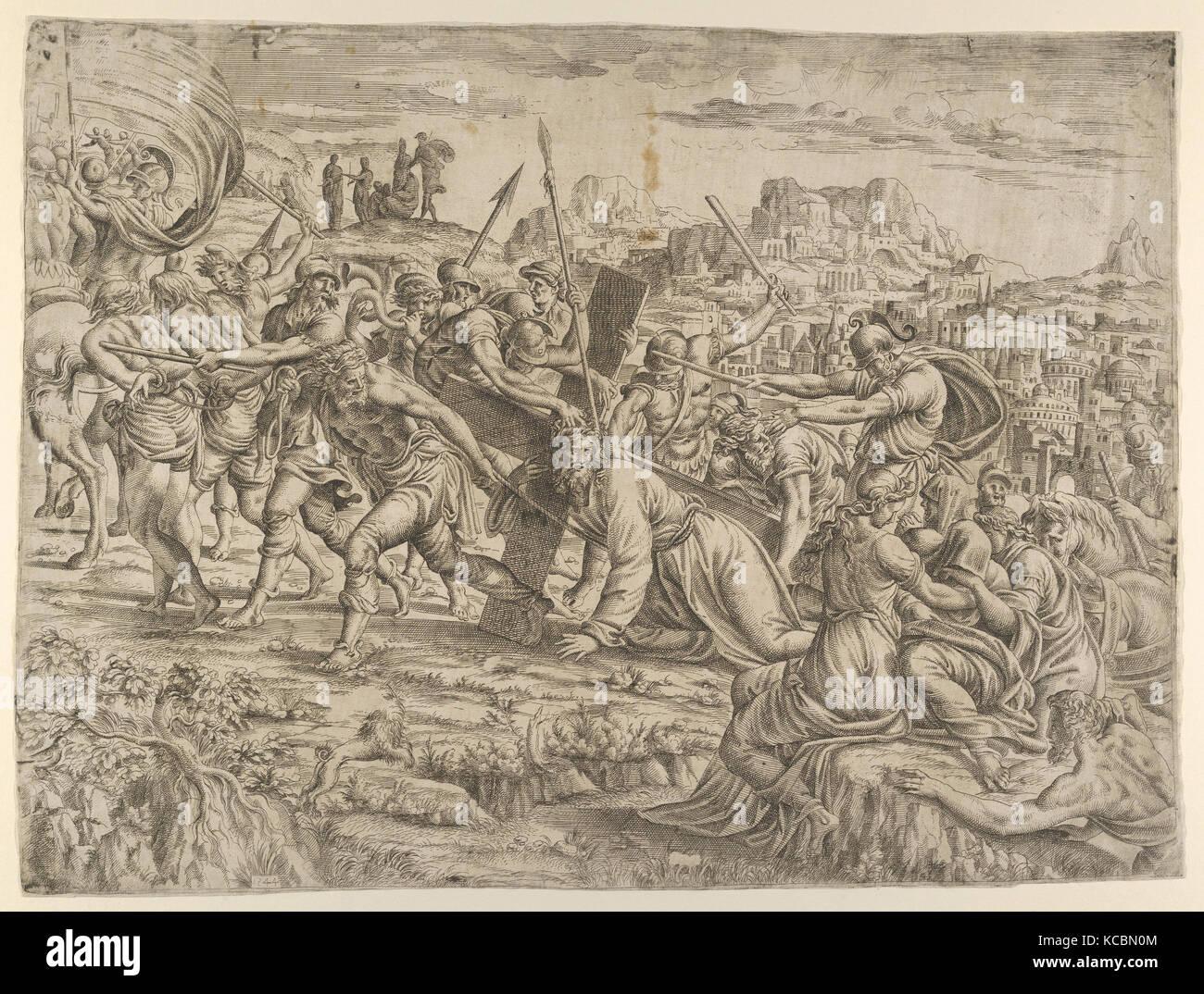 Das Kreuz trug, 1544, Radierung, 14 5/8 x 19 1/4 in. (37,2 x 48,9 cm), Drucke, Jean Mignon (Französisch, aktive Stockbild